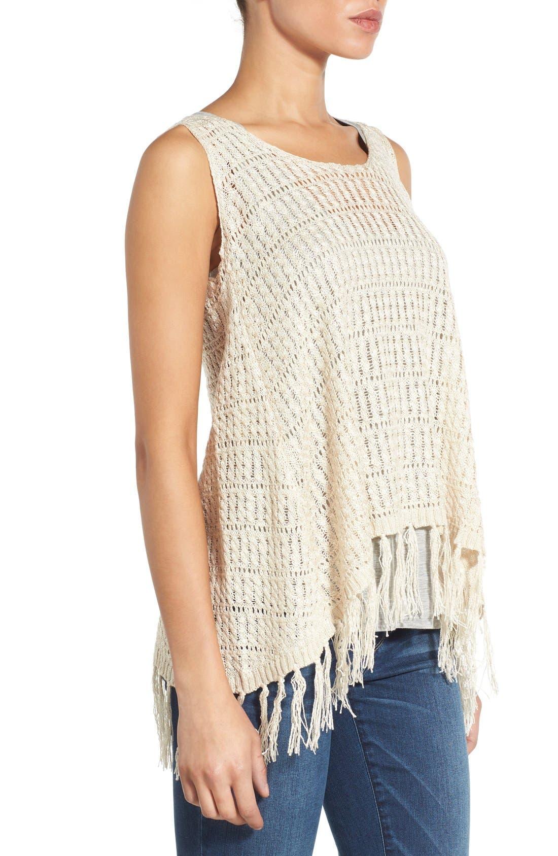 Alternate Image 3  - Wit & Wisdom Fringed Split Back Open Weave Sweater (Nordstrom Exclusive)