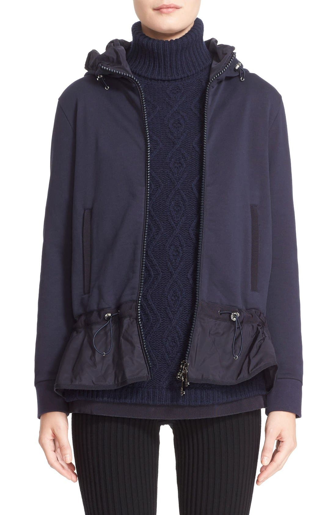 MONCLER Peplum Hem Hooded Cotton Jacket