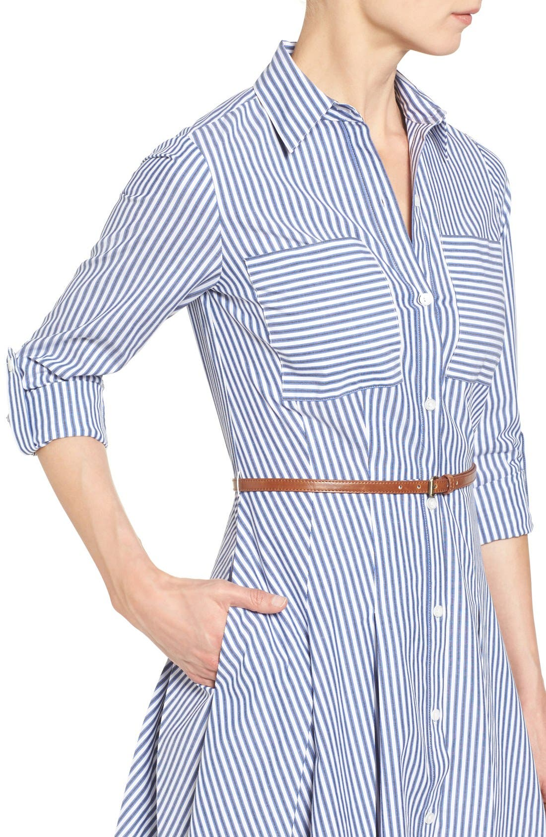 Alternate Image 4  - MICHAEL Michael Kors Belted Stripe Stretch Cotton Shirtdress