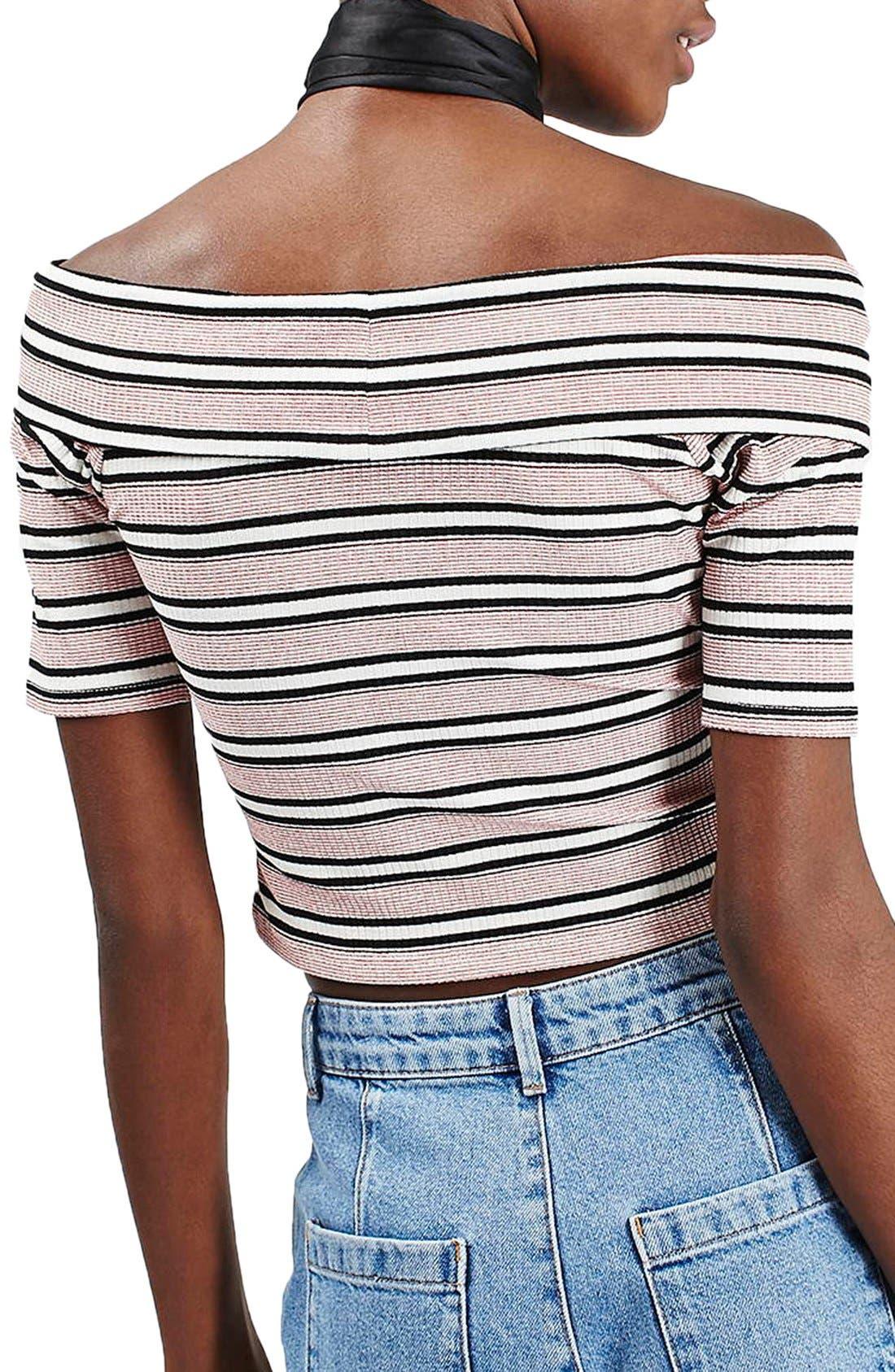 Alternate Image 3  - Topshop Stripe Off the Shoulder Crop Top (Petite)