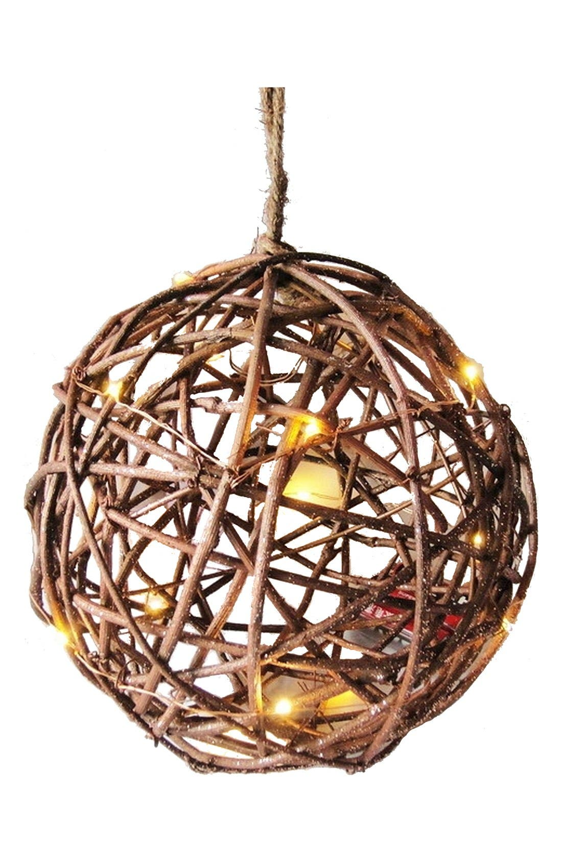 Alternate Image 2  - Sage & Co. Light Up Rattan & Wire Ball Ornament