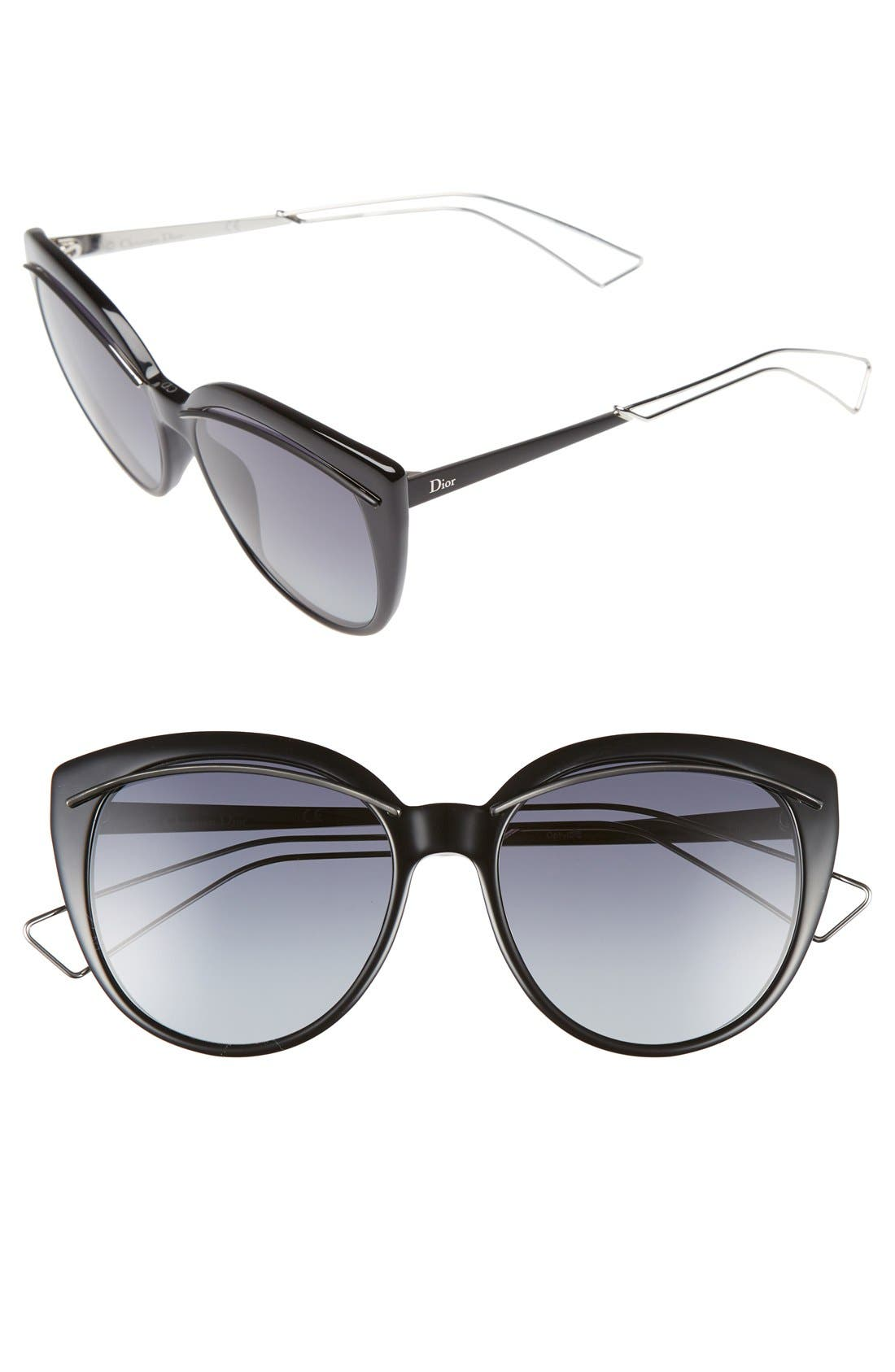 Dior 'Liner' 56mm Cat Eye Sunglasses