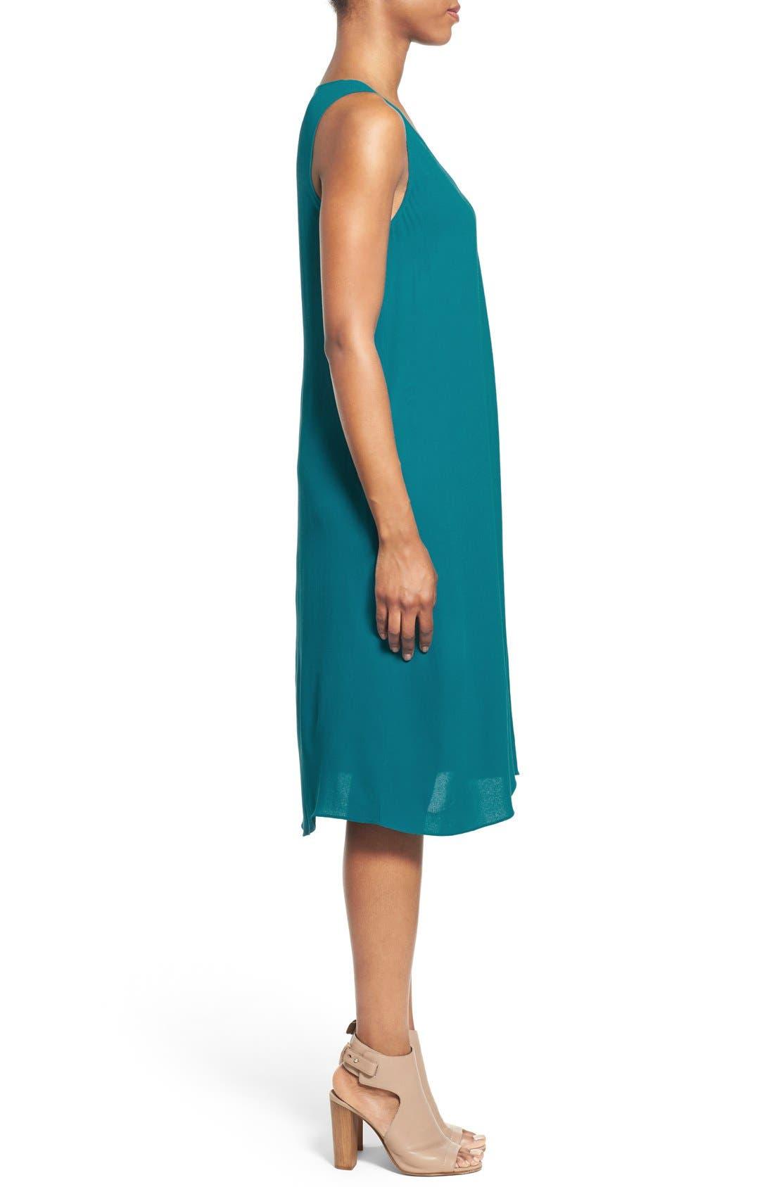 Alternate Image 3  - Eileen Fisher Silk V-Neck Shift Dress (Regular & Petite)