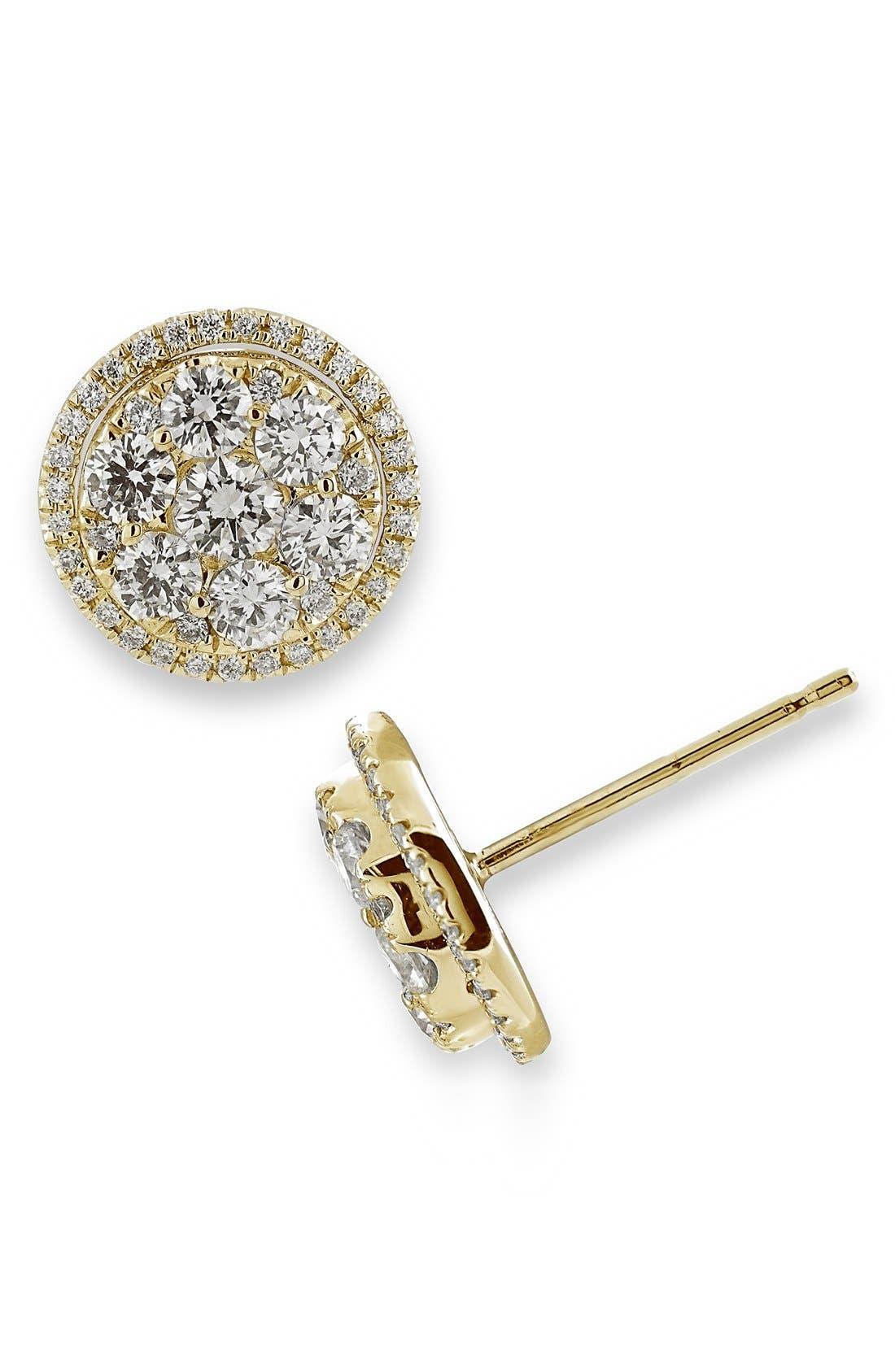 Main Image - Bony Levy 'Mika' Round Halo Diamond Stud Earrings (Nordstrom Exclusive)