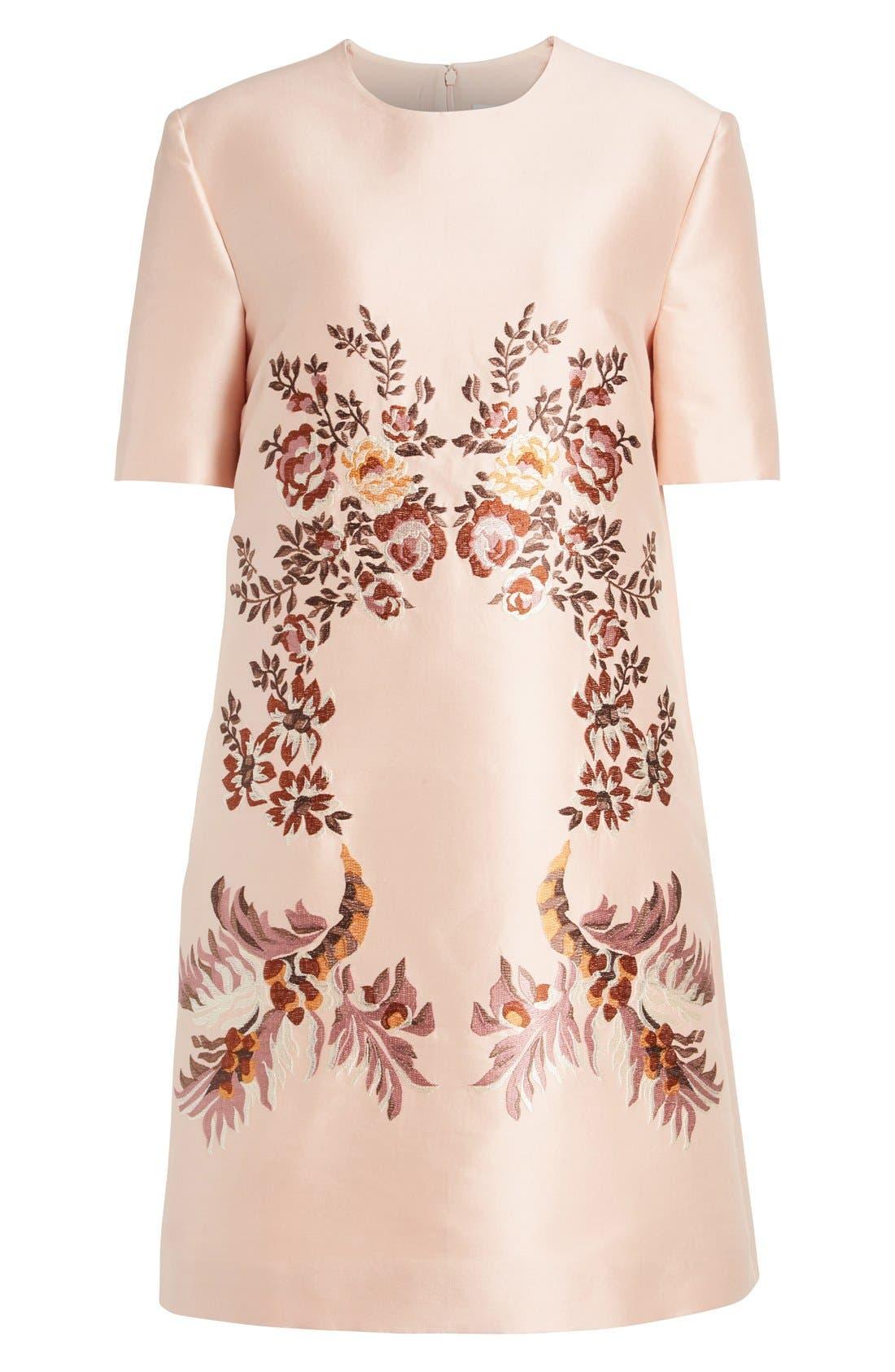 Alternate Image 4  - Stella McCartney Floral Embroidered Satin Shift Dress