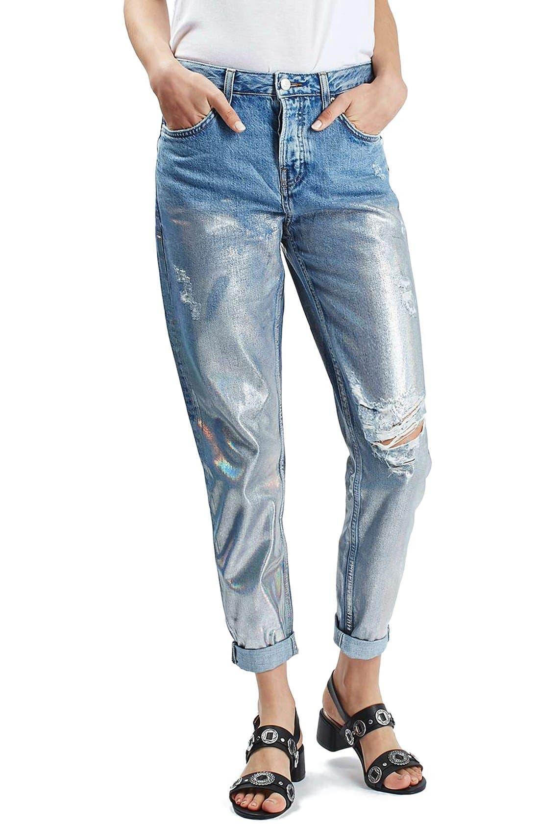 Main Image - Topshop 'Hayden' Metallic Distressed Boyfriend Jeans (Regular & Petite)