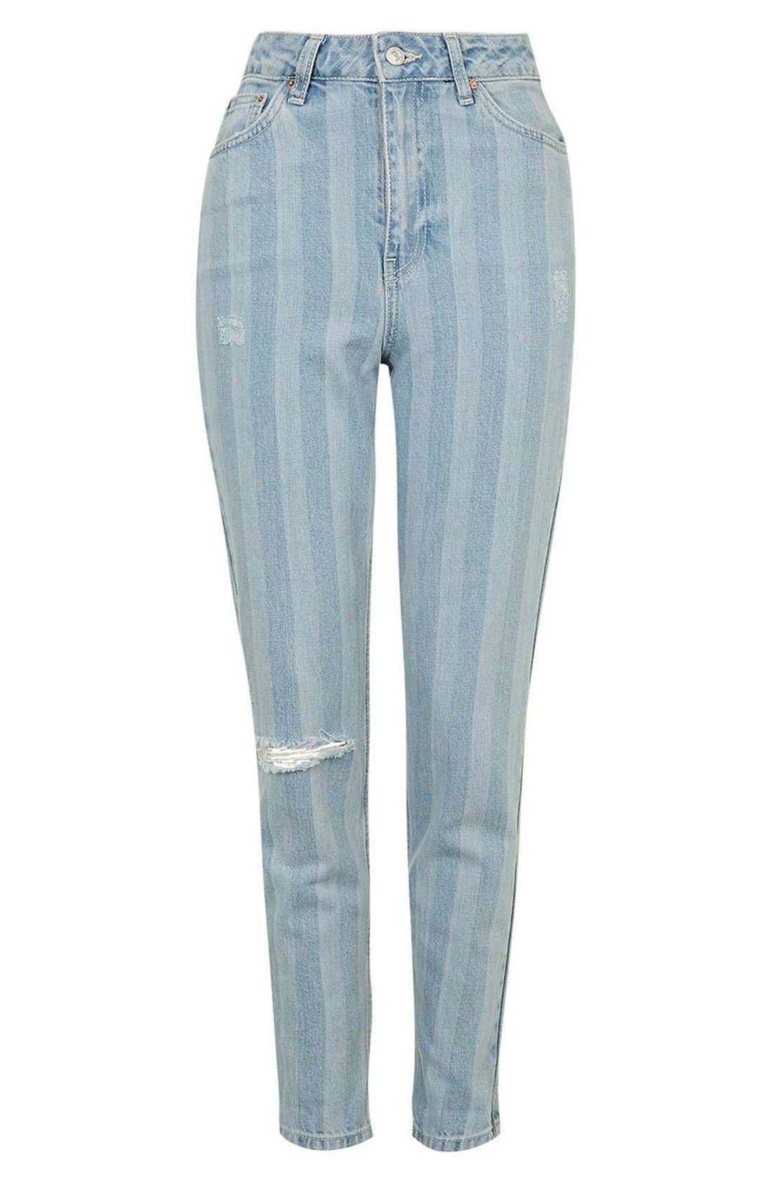 Alternate Image 5  - Topshop Ripped Stripe Mom Jeans