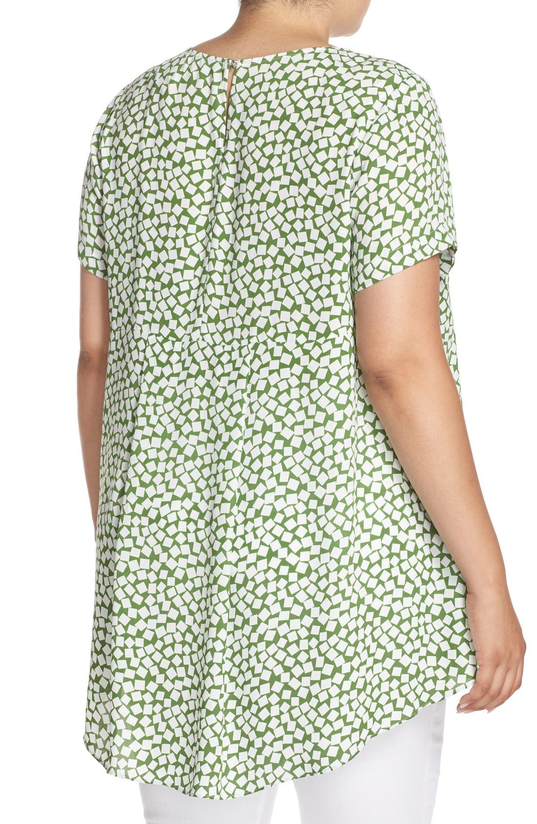 Alternate Image 2  - Vince Camuto 'Falling Cubes' Print Short Sleeve High/Low Blouse (Plus Size)