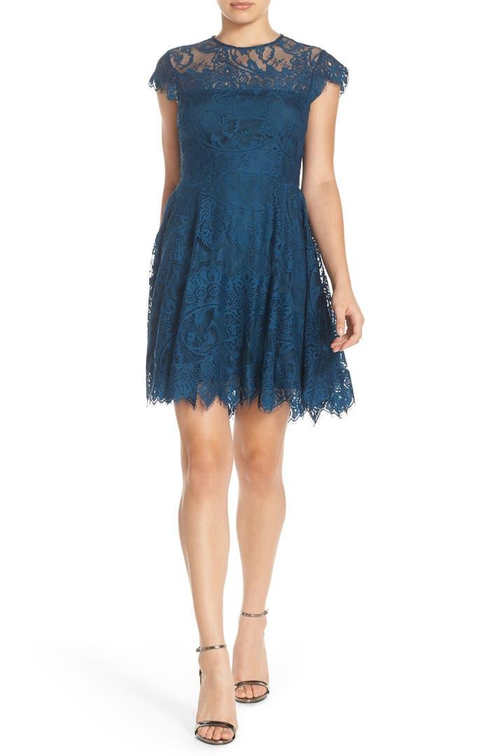 Bb Dakota Rhianna Illusion Yoke Lace Fit Amp Flare Dress