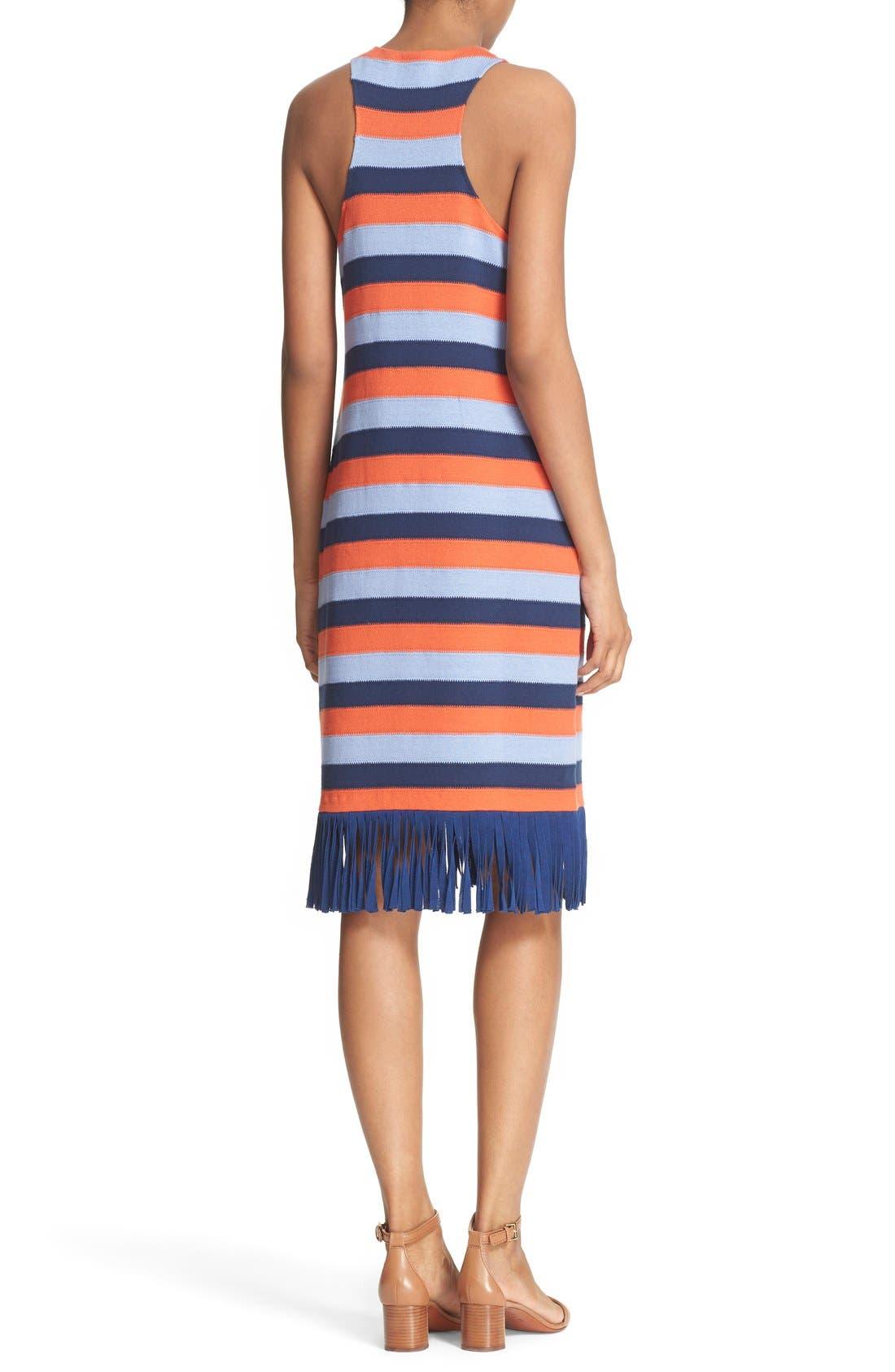 Alternate Image 2  - Tory Burch 'Ariana' Fringe Hem Stripe Tank Dress