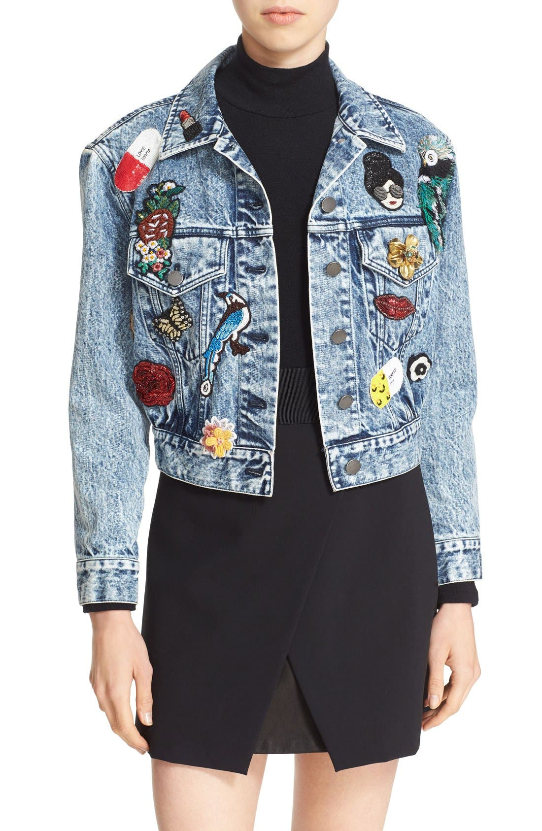 Main Image - Alice + Olivia 'Chloe' Embellished Crop Denim Jacket
