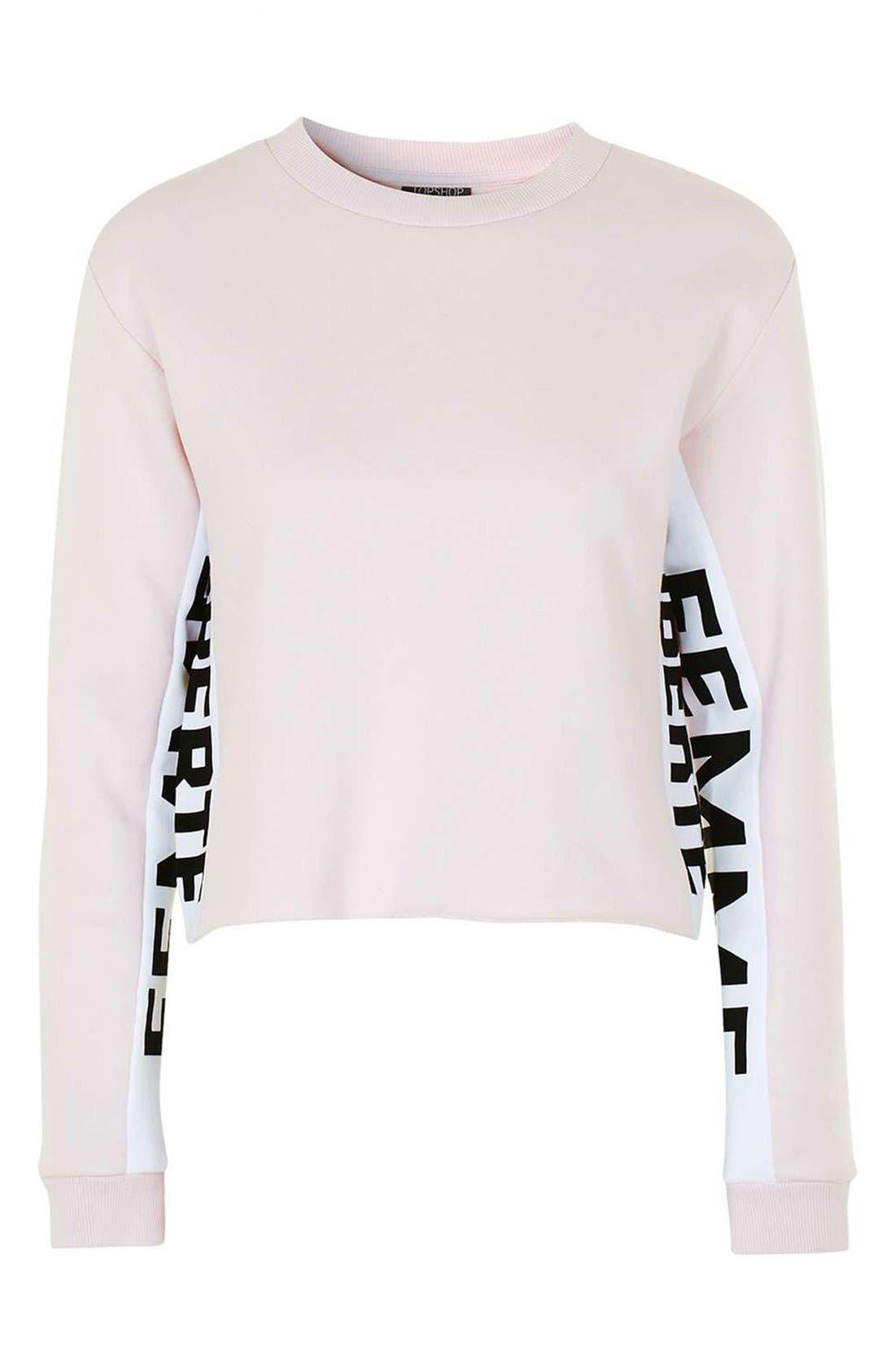 Alternate Image 4  - Topshop 'Femme Liberté' Crop Sweatshirt