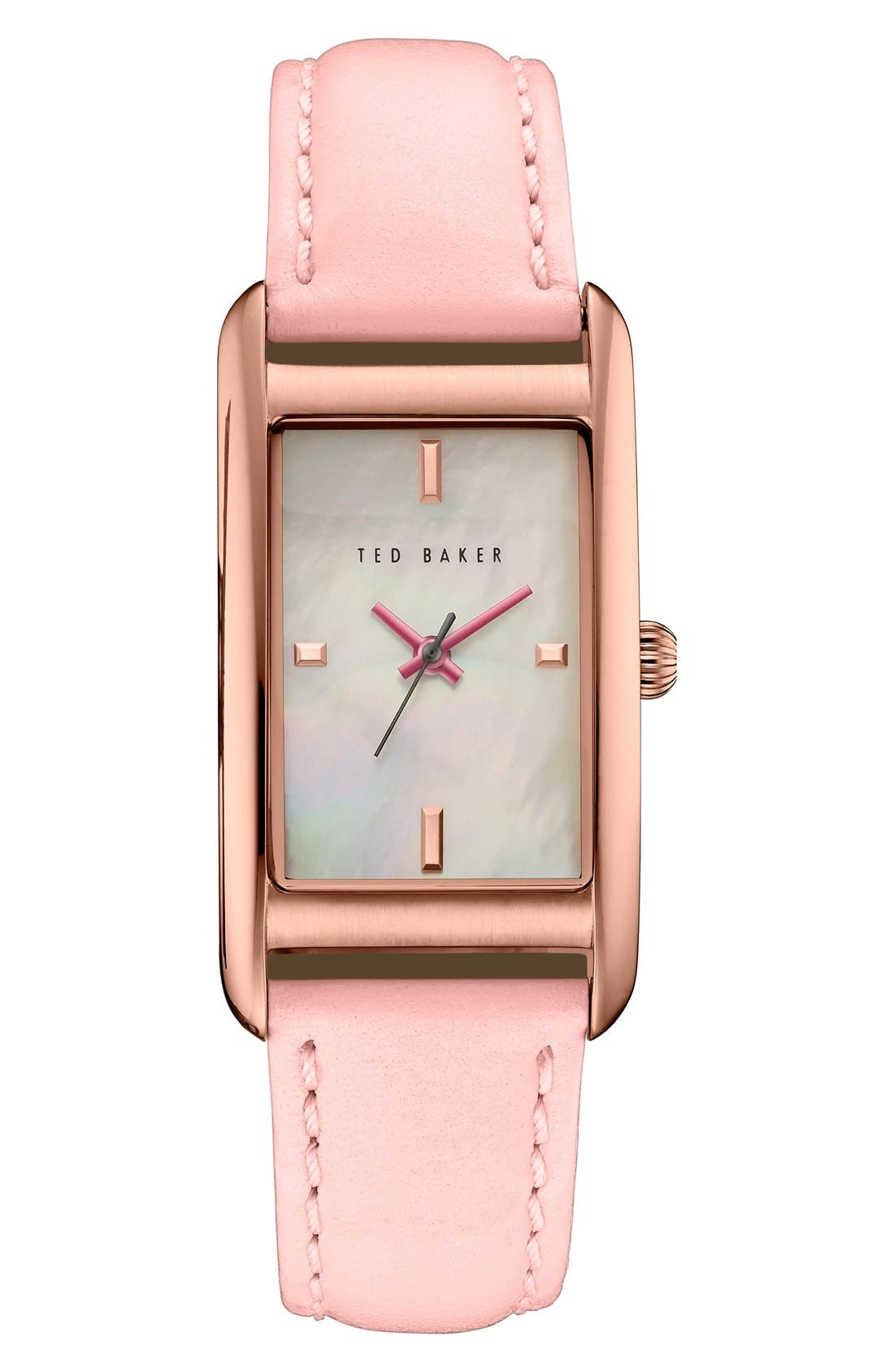 Ted Baker London 'Bliss' Rectangle Case Leather Strap Watch, 24mm x 45mm