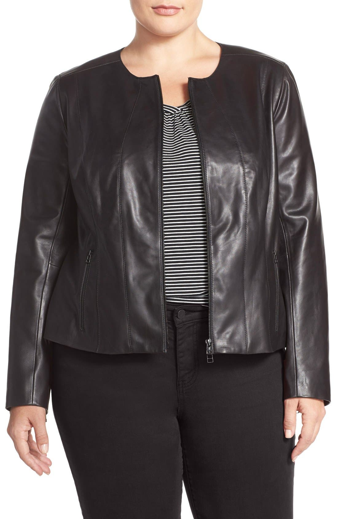 Alternate Image 1 Selected - Halogen® Collarless Leather Jacket (Plus Size)