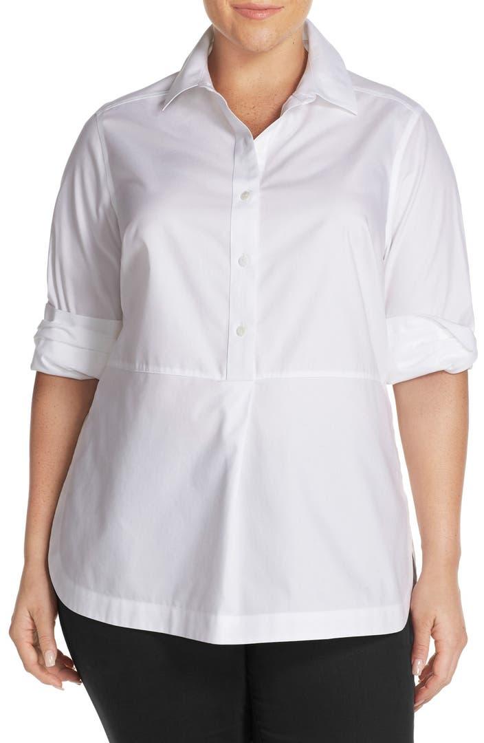 Foxcroft no iron cotton long sleeve tunic shirt plus size for No iron cotton shirts