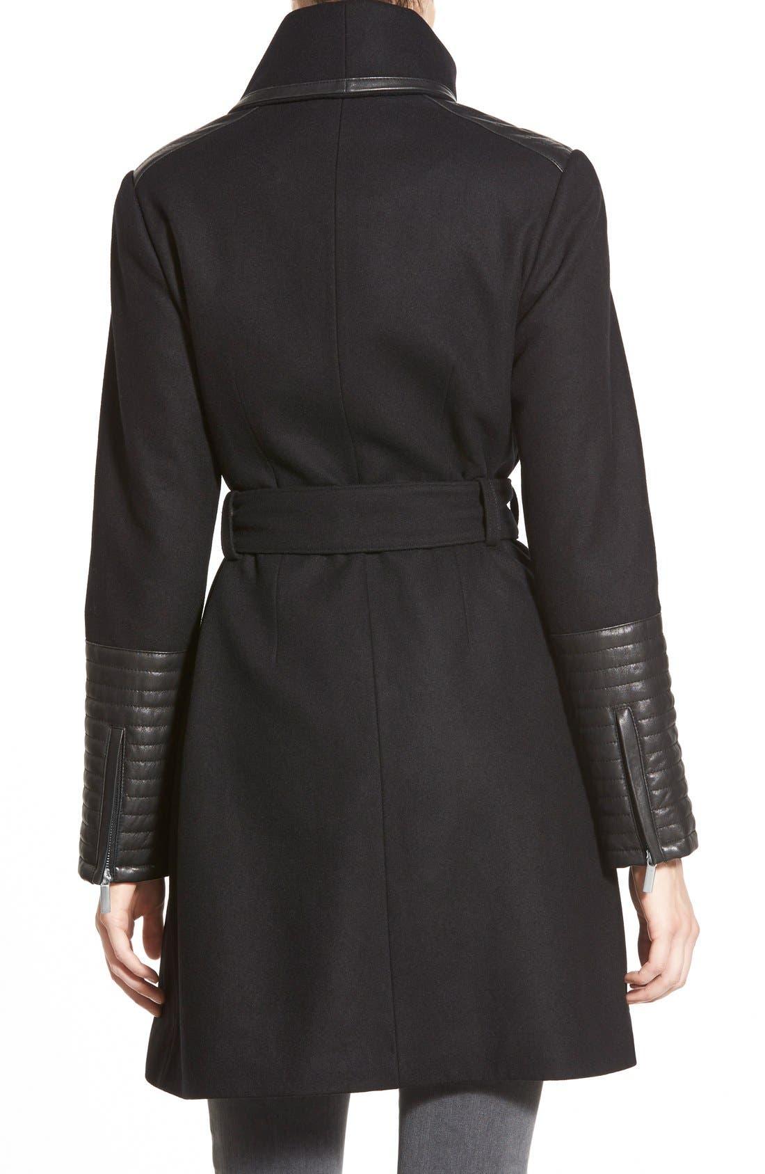 Alternate Image 2  - Belle BadgleyMischka 'Lorian' FauxLeather Trim BeltedAsymmetrical Wool Blend Coat