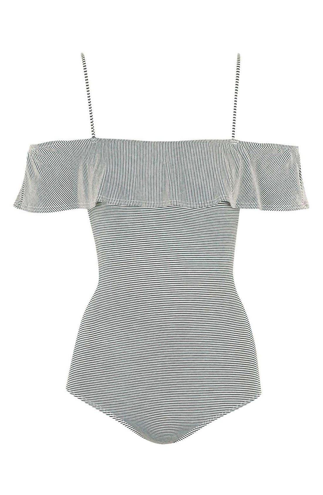 Alternate Image 4  - Topshop Stripe Bardot Bodysuit