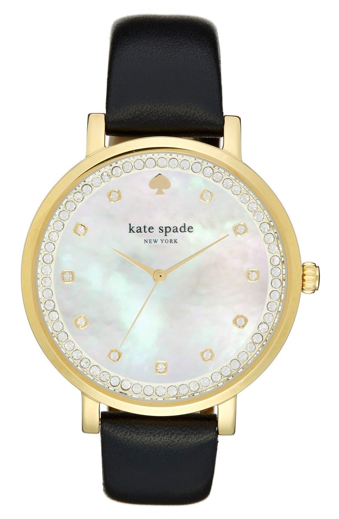 Main Image - kate spade new york 'monterrey' leather strap watch, 38mm