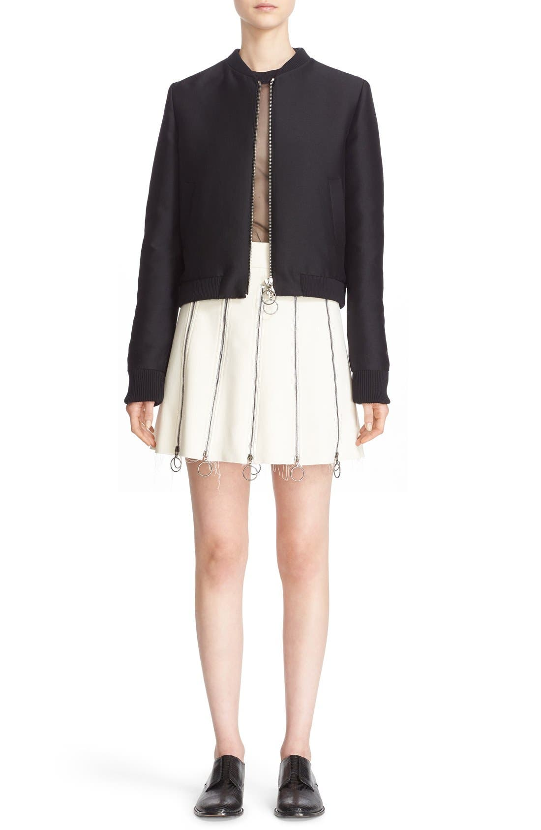 Alternate Image 7  - Etienne Deroeux 'Tania' Zip Detail Miniskirt