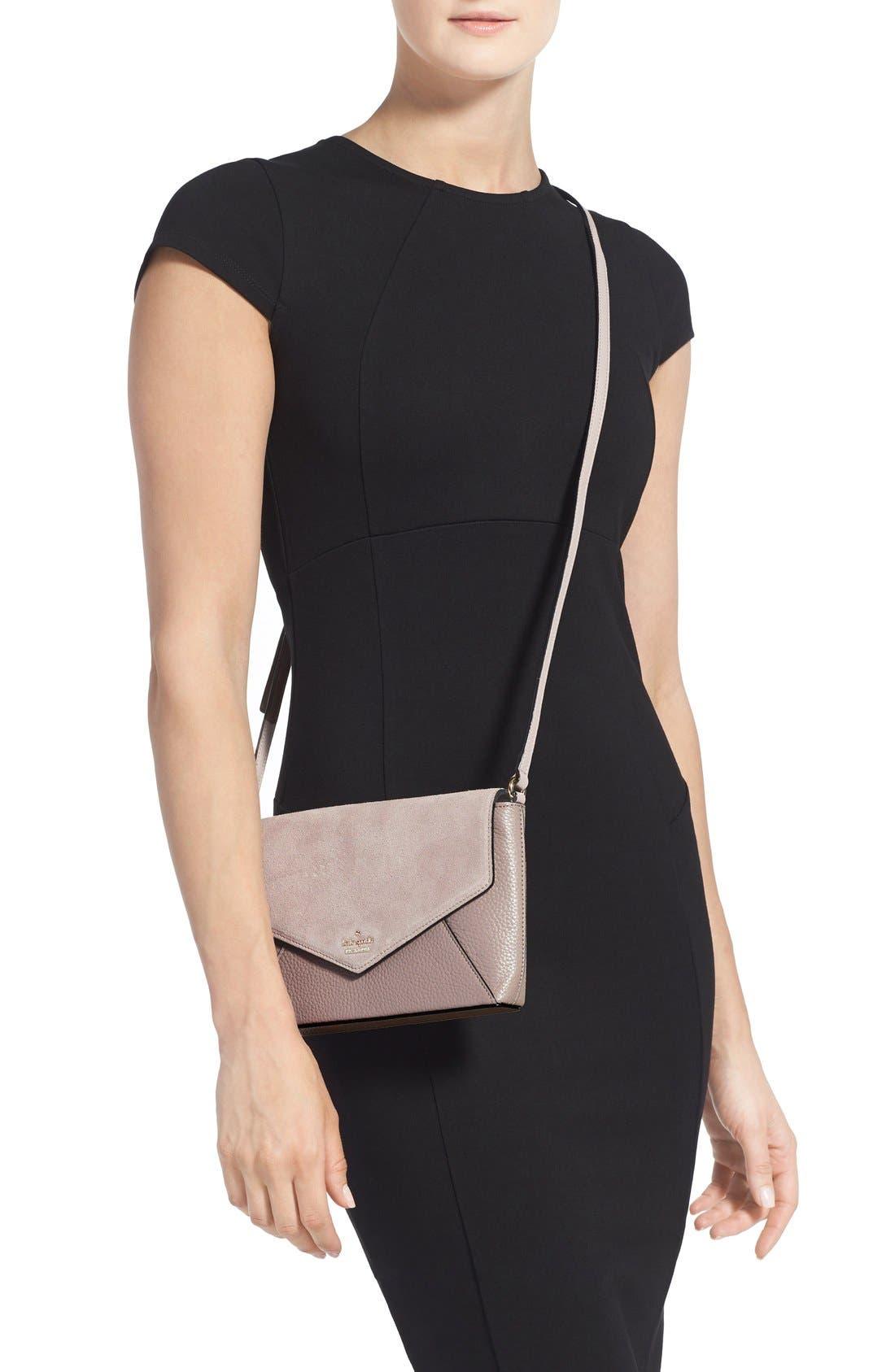 Alternate Image 2  - kate spade new york 'spencer court - large monday' suede & leather envelope crossbody bag (Nordstrom Exclusive)