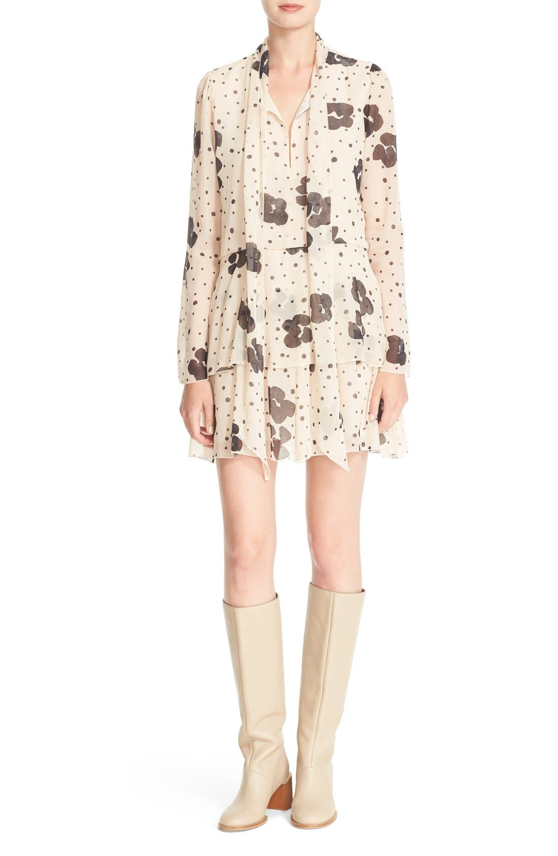 Main Image - See by Chloé Leopard Print Silk Georgette Dress