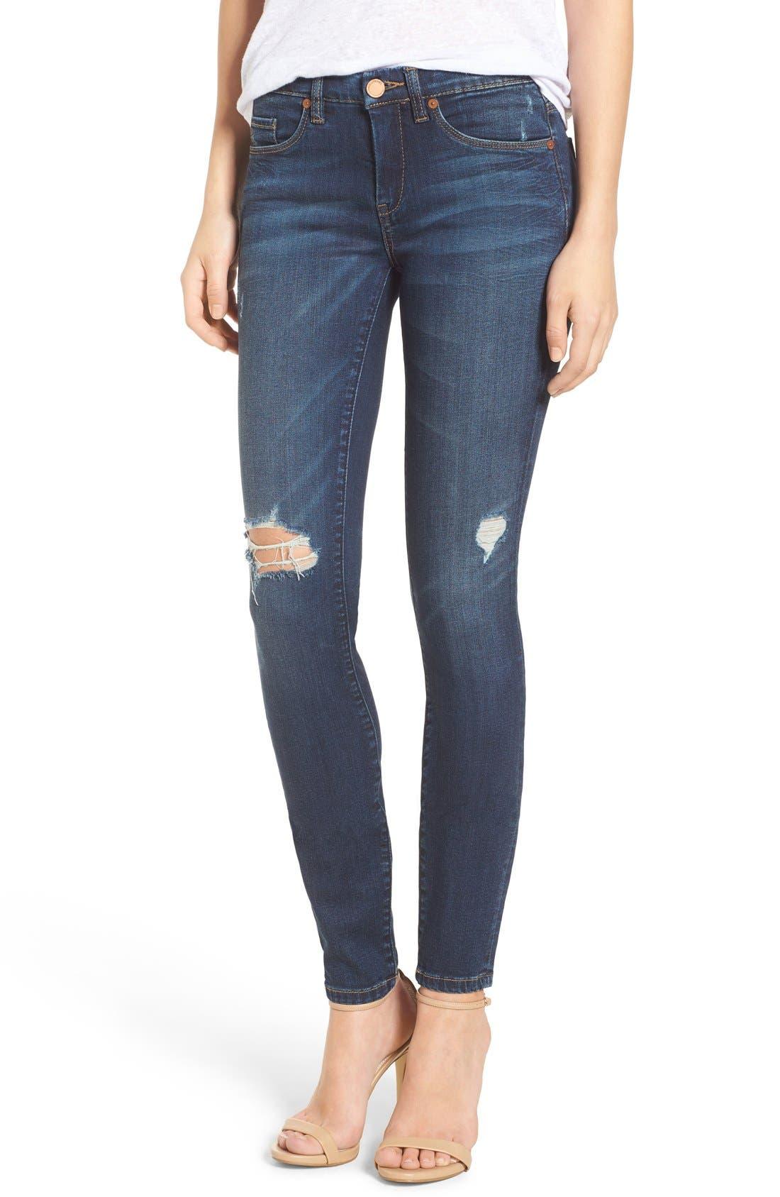 Alternate Image 1 Selected - BLANKNYC Distressed Skinny Jeans (Junk Drawers)
