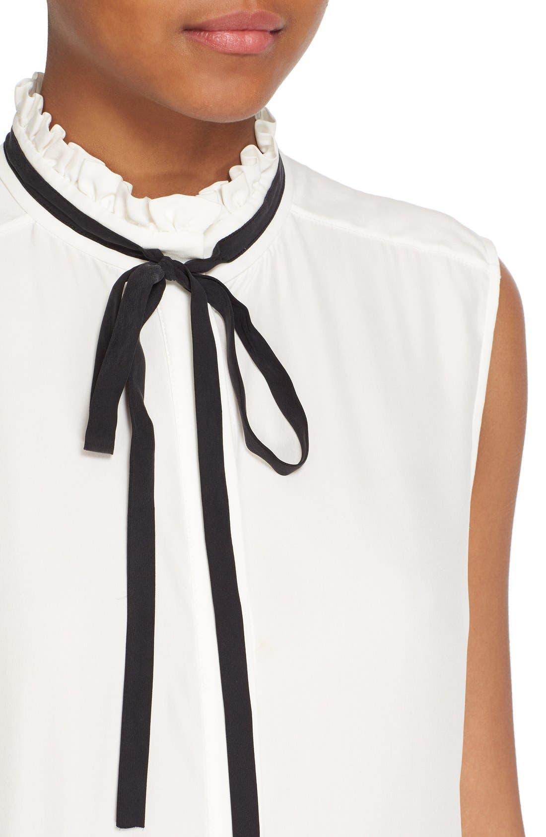 Alternate Image 4  - FRAME Sleeveless Ruffle Tie Neck Silk Blouse