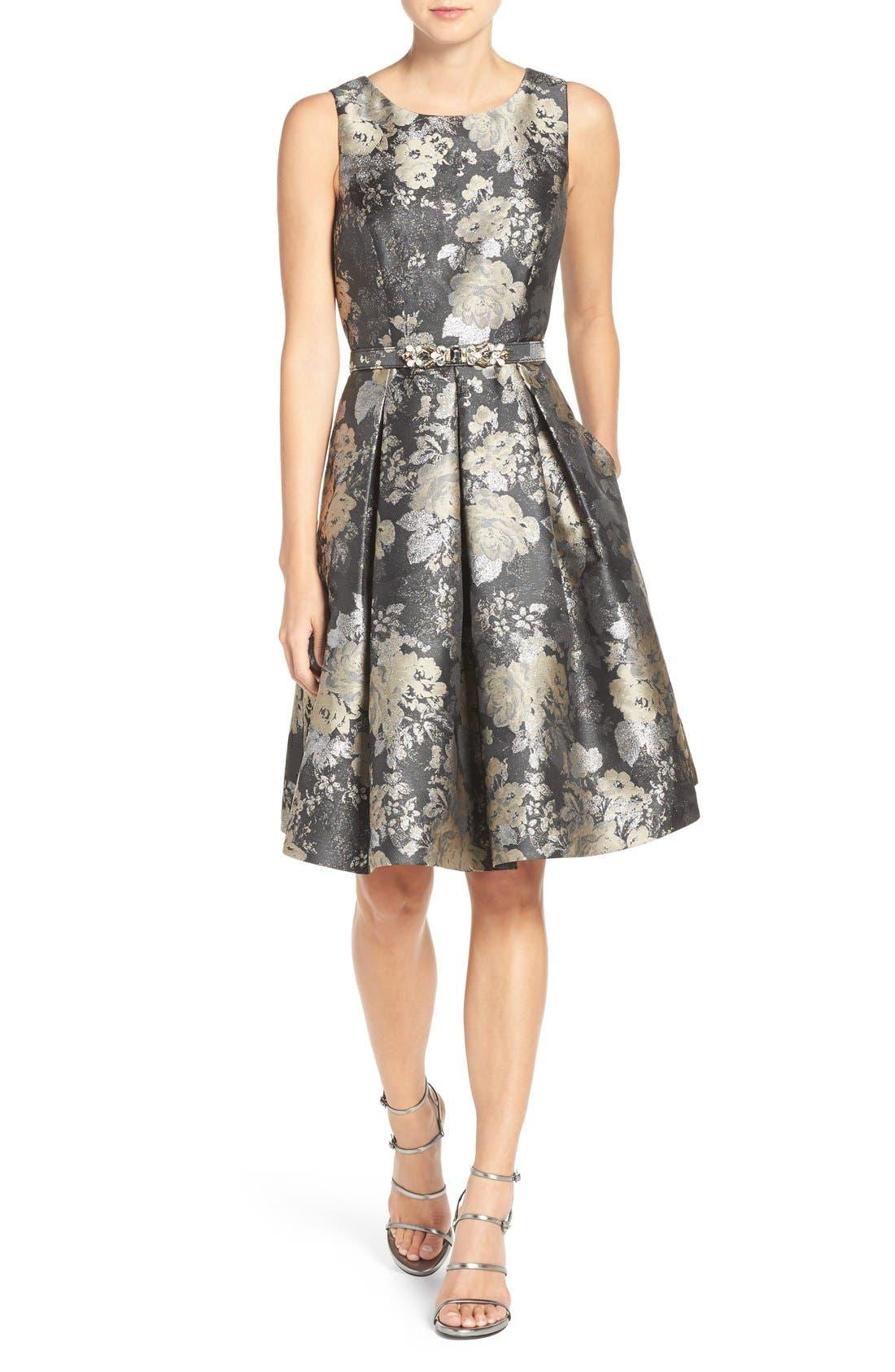 Main Image - Eliza J Belted Jacquard Fit & Flare Dress (Regular & Petite)