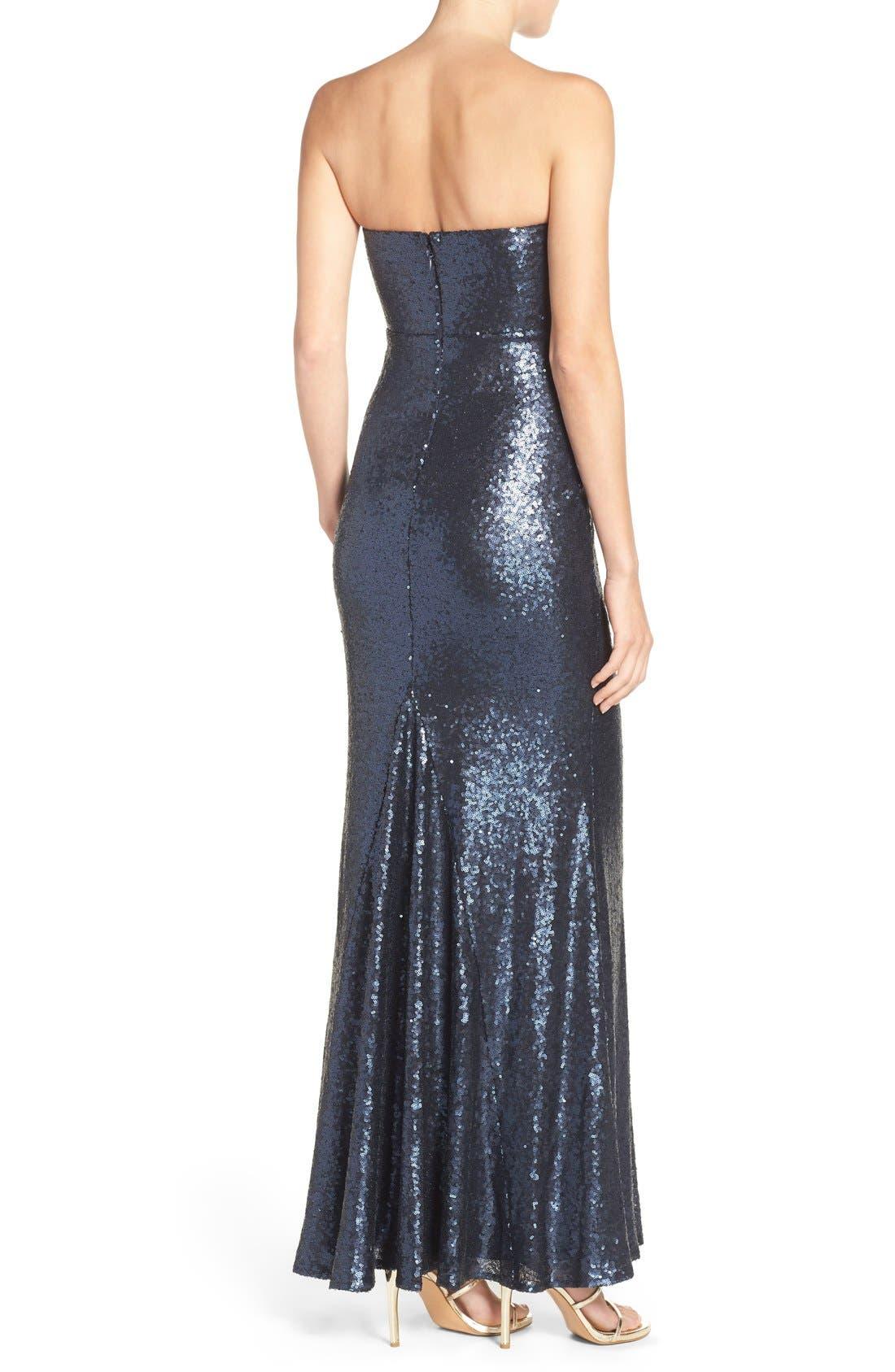 Alternate Image 2  - Lulus Strapless Sequin Mermaid Gown