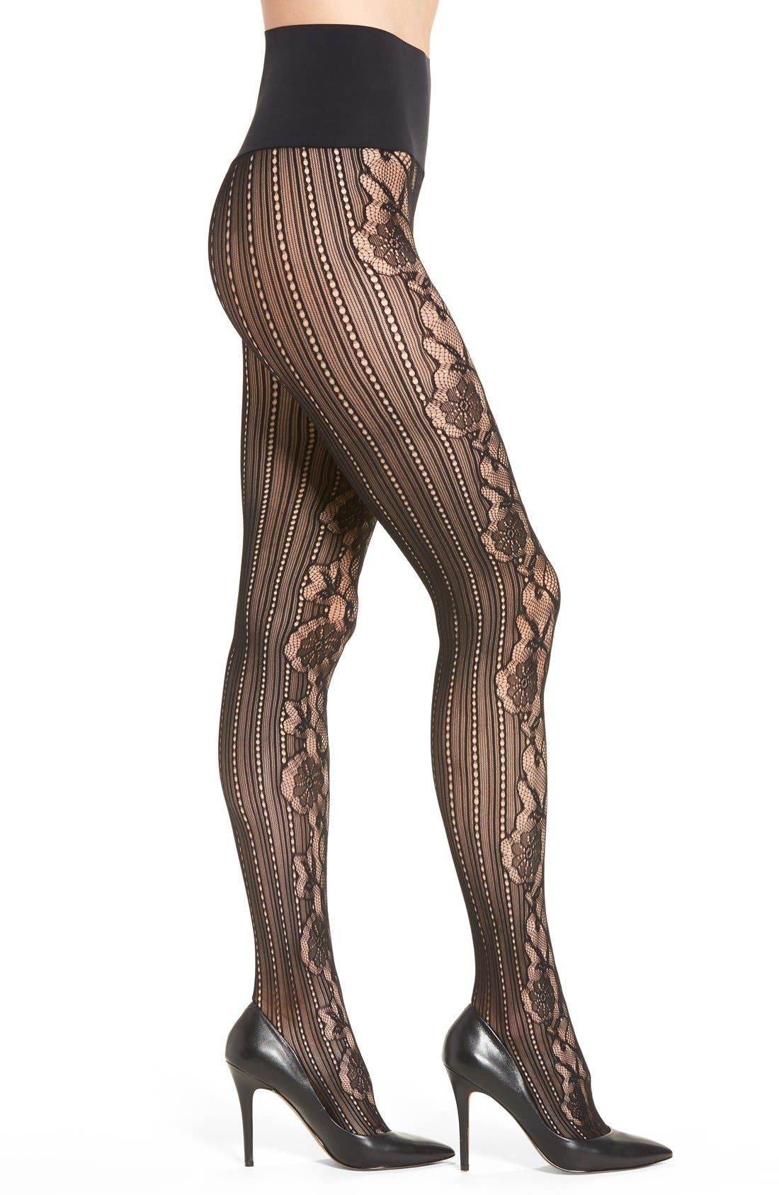 Alternate Image 1 Selected - Commando 'Runway' Floral Net Tights