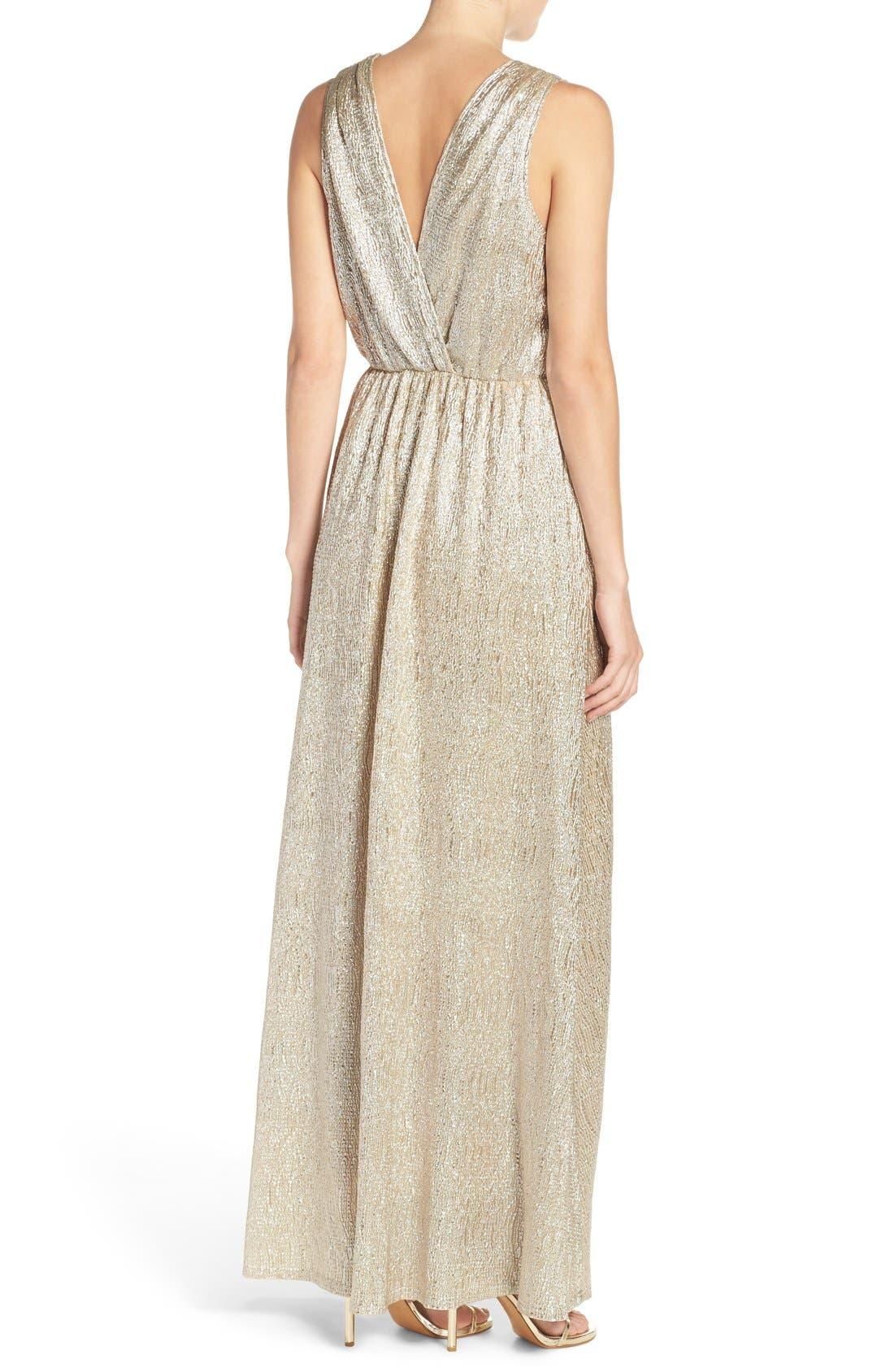 Alternate Image 3  - Lulus Surplice V-Neck Sleeveless Shimmer Gown