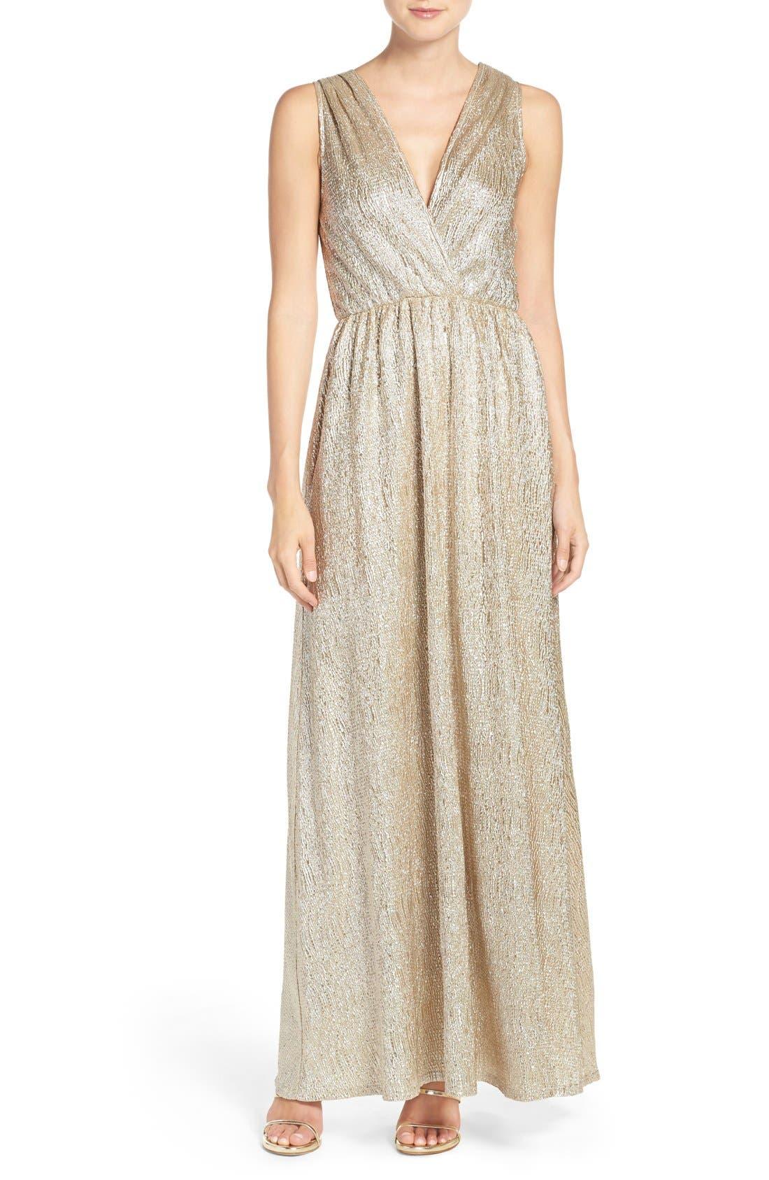 Alternate Image 1 Selected - Lulus Surplice V-Neck Sleeveless Shimmer Gown