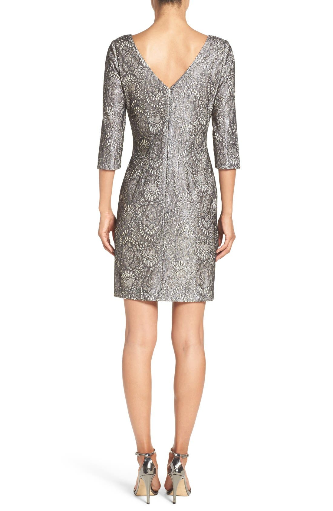 Alternate Image 2  - Eliza J Bonded Lace Sheath Dress