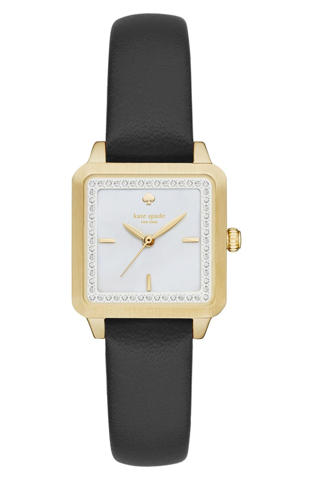 Alternate Image 1 Selected - kate spade new york 'washington' square leather strap watch, 25mm