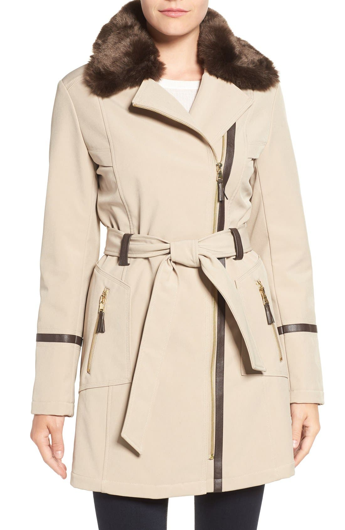 Main Image - Via Spiga Detachable Faux Fur Collar Belted Soft Shell Coat