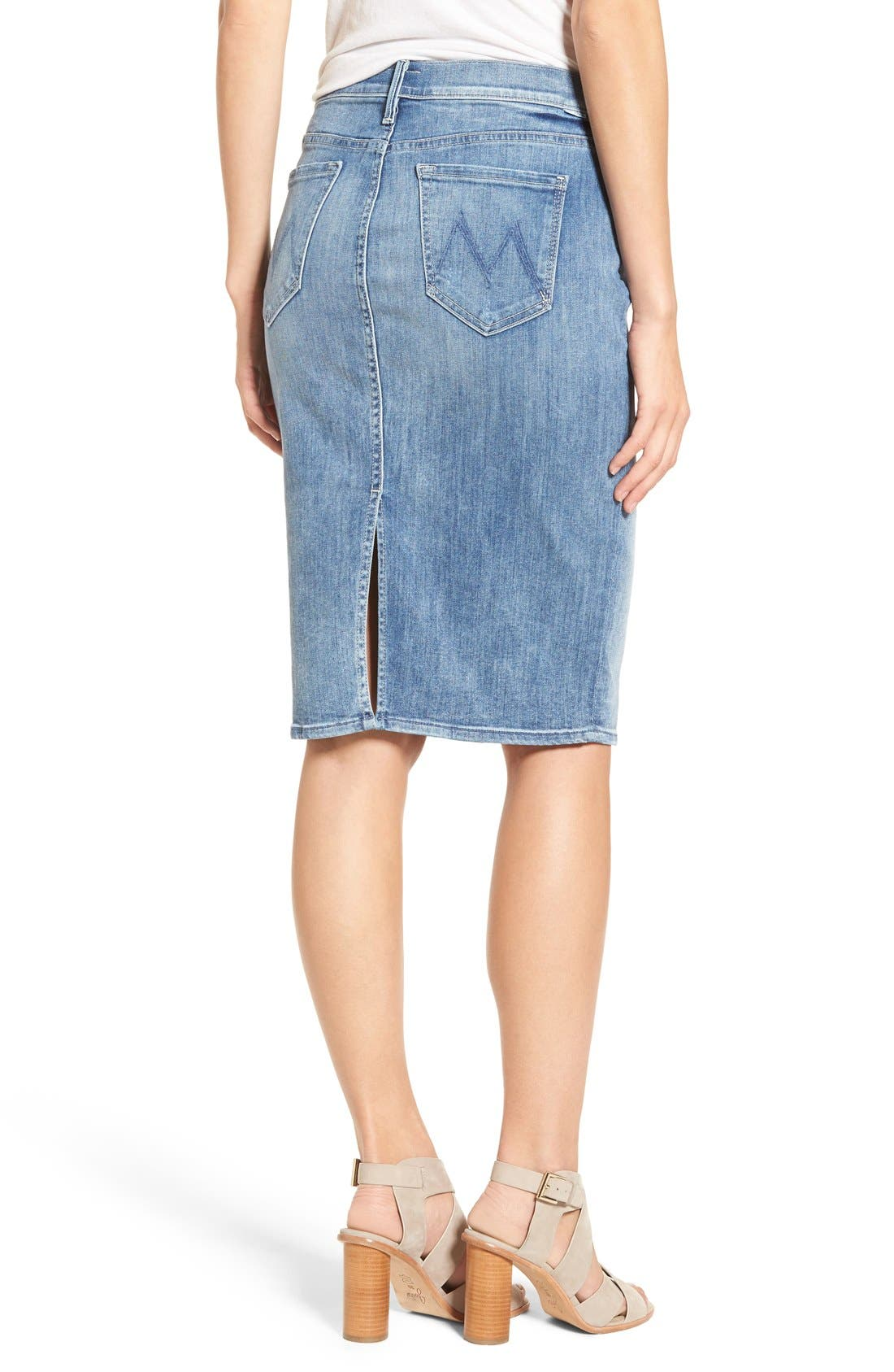 Alternate Image 2  - MOTHER 'The Peg Leg' Denim Pencil Skirt (Double Time)
