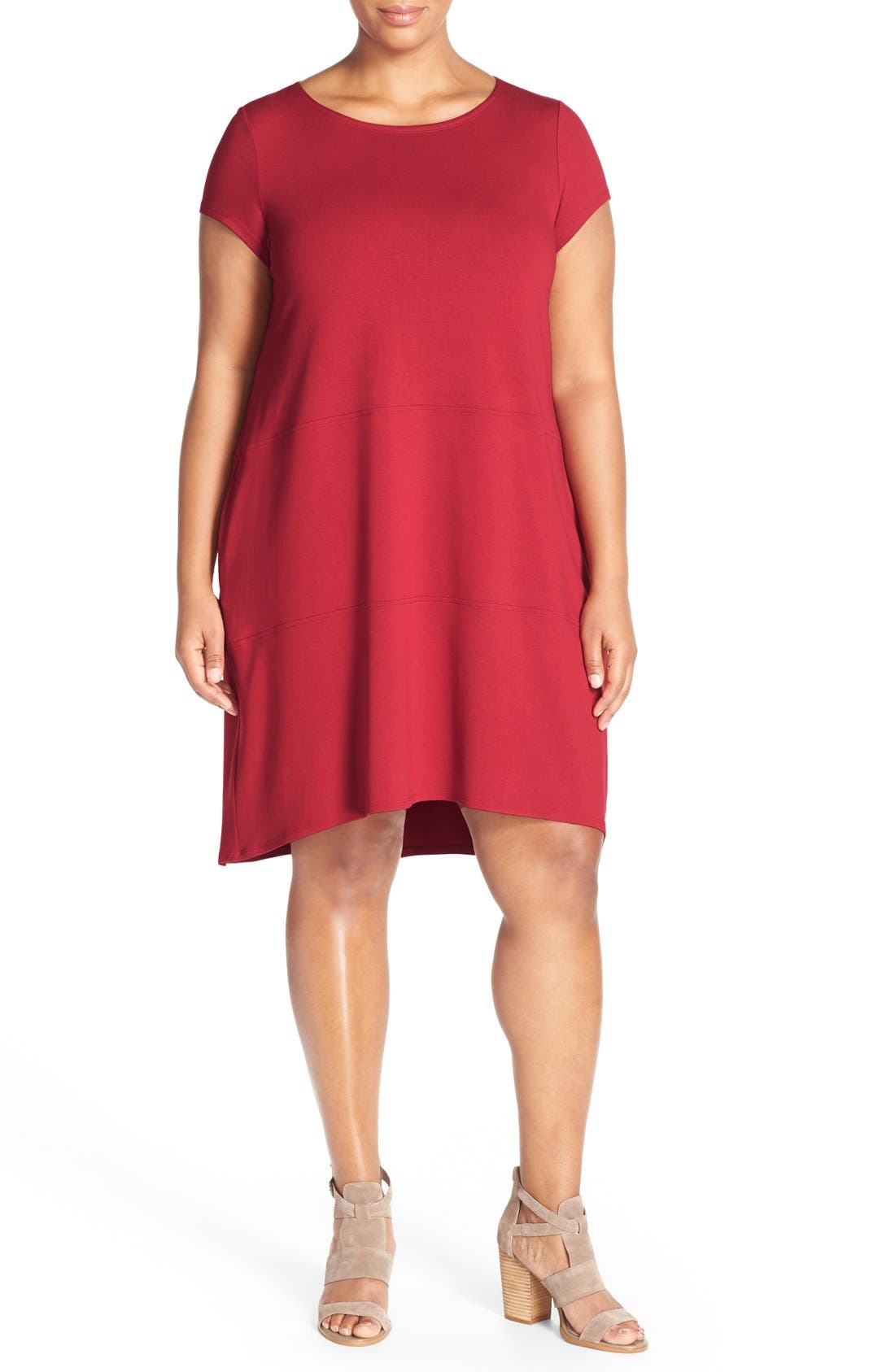 Alternate Image 4  - Eileen Fisher Bateau Neck Cap Sleeve Dress (Plus Size)