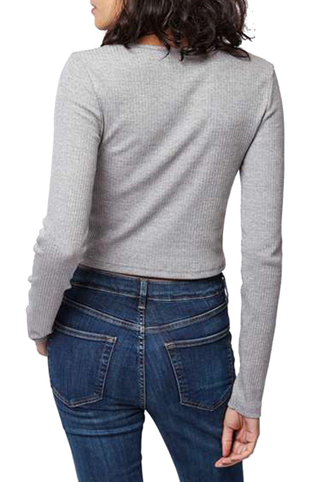 Alternate Image 3  - Topshop V-Neck CropSweater