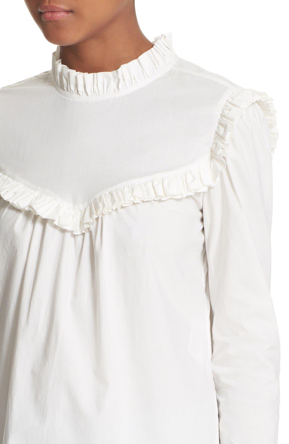 Alternate Image 4  - La Vie Rebecca Taylor Ruffle Cotton Poplin Blouse
