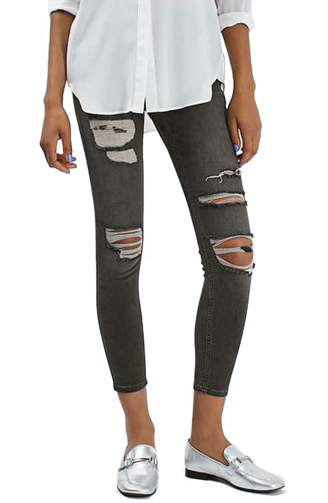 Main Image - Topshop 'Jamie' Washed Super Ripped Skinny Jeans (Petite)