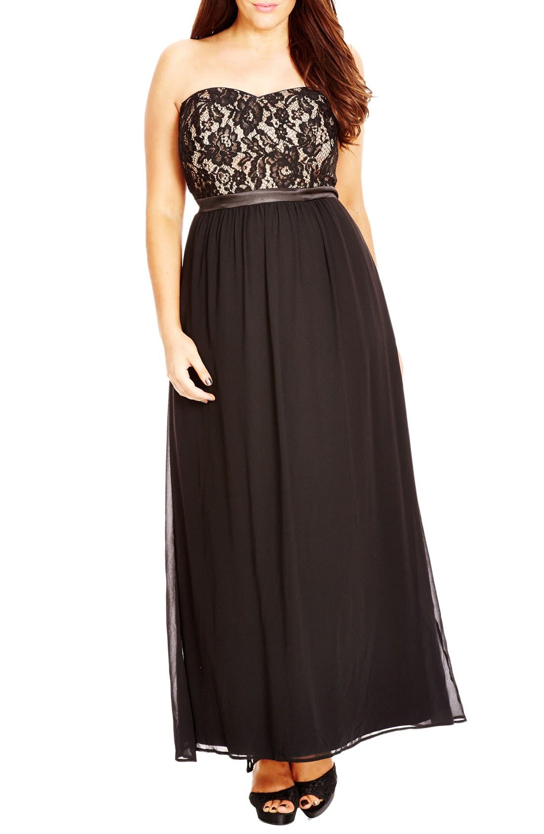 CITY CHIC 'Romantic Dance' Lace & Chiffon Gown