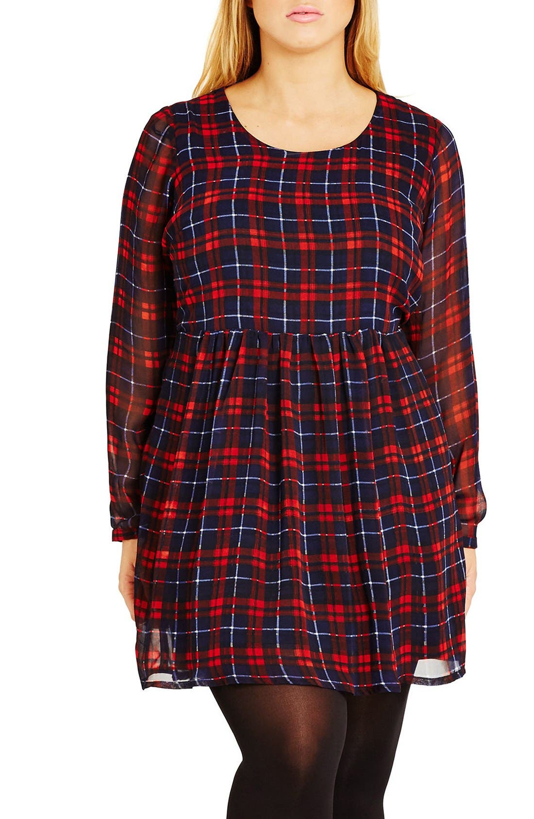 CITY CHIC 'Check Me Out' Plaid Babydoll Dress