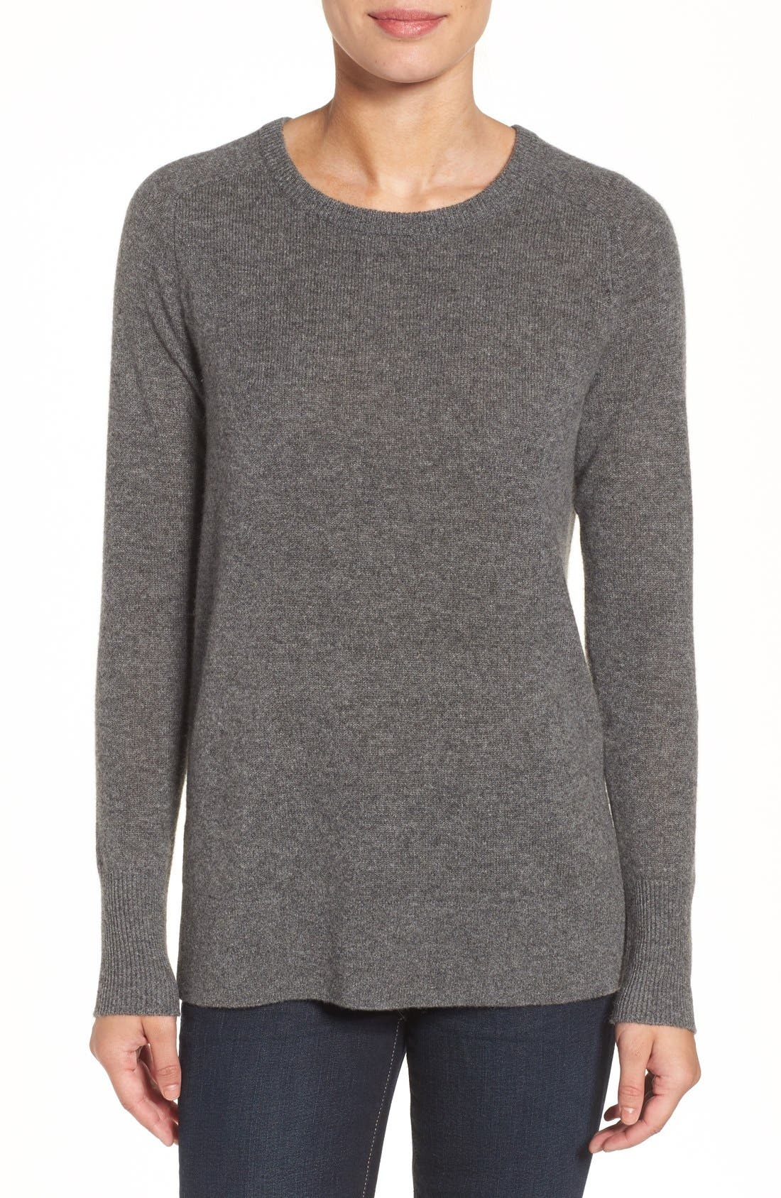 Halogen® Crewneck Lightweight Cashmere Sweater (Regular & Petite)
