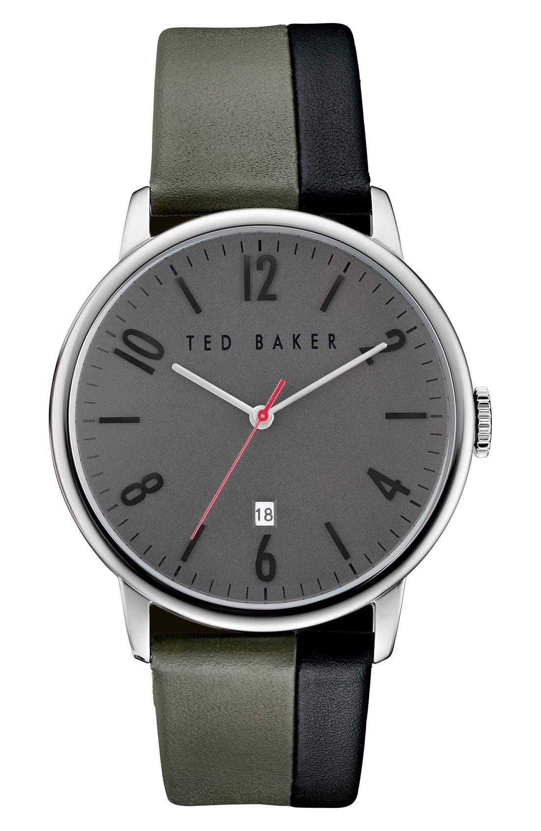 Ted Baker London 'Modern Vintage' Leather Strap Watch, 42mm