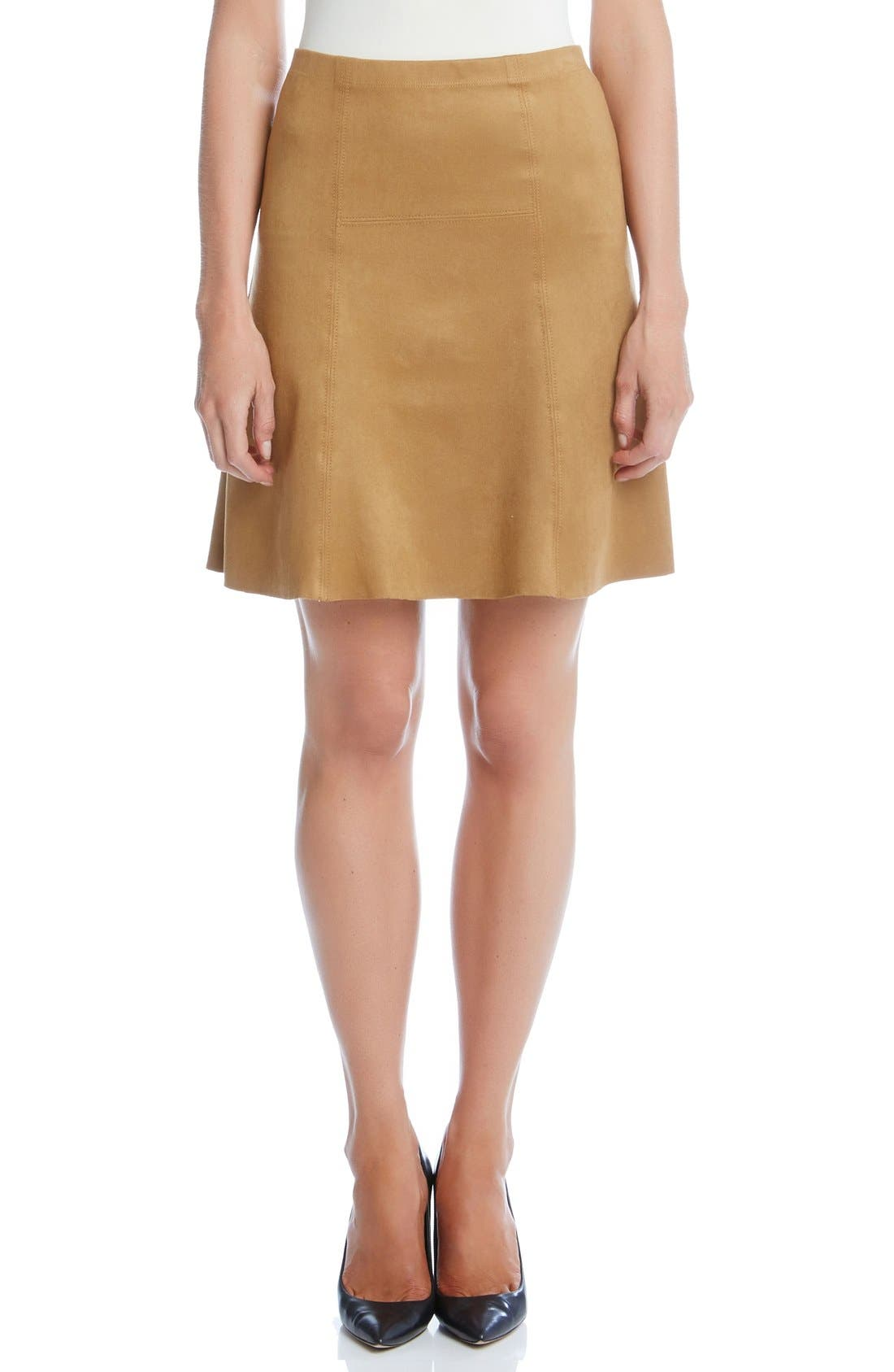 Main Image - Karen Kane Flared Faux Suede Knit Skirt