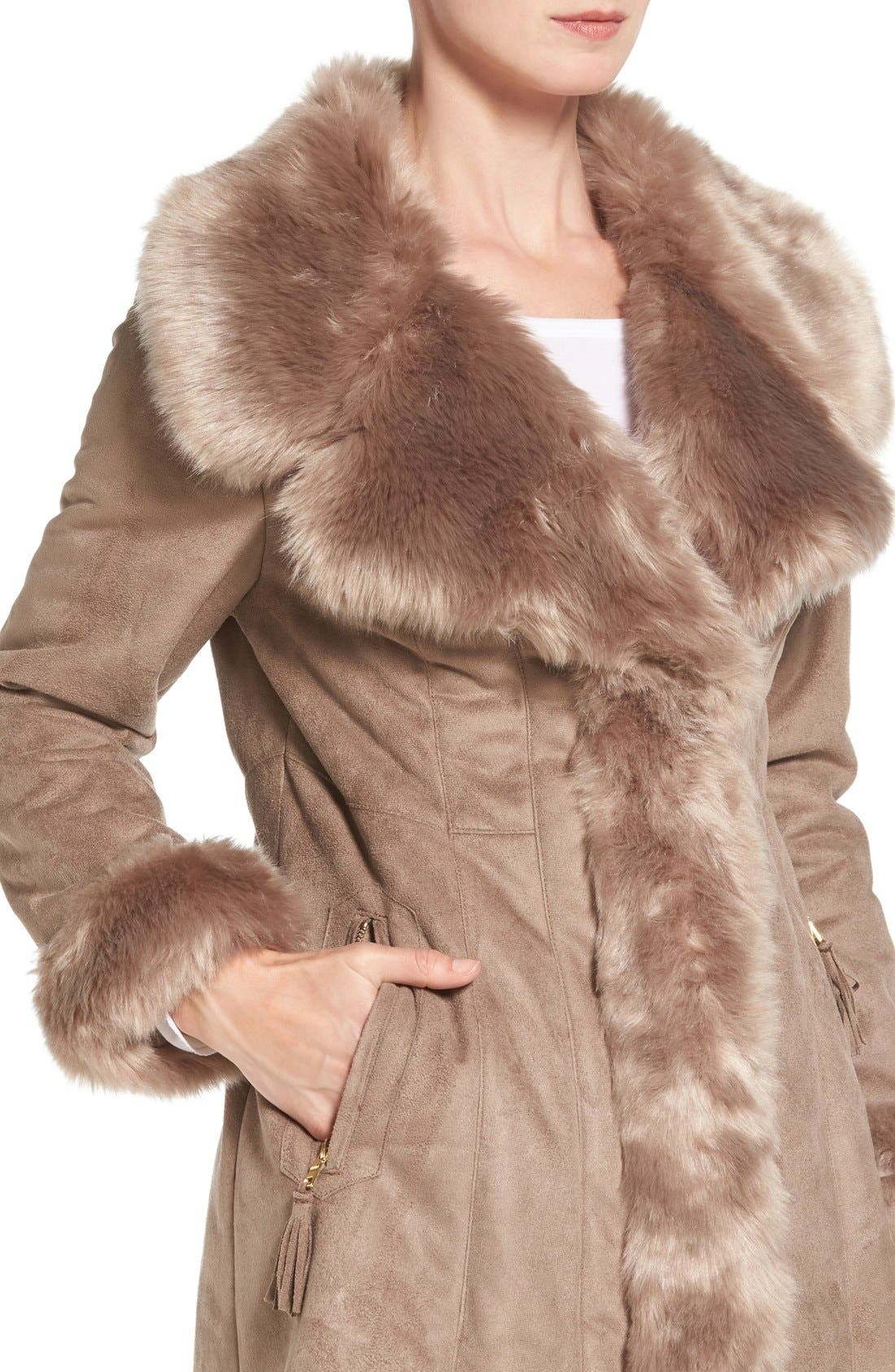 Alternate Image 4  - Via Spiga Faux Shearling Coat