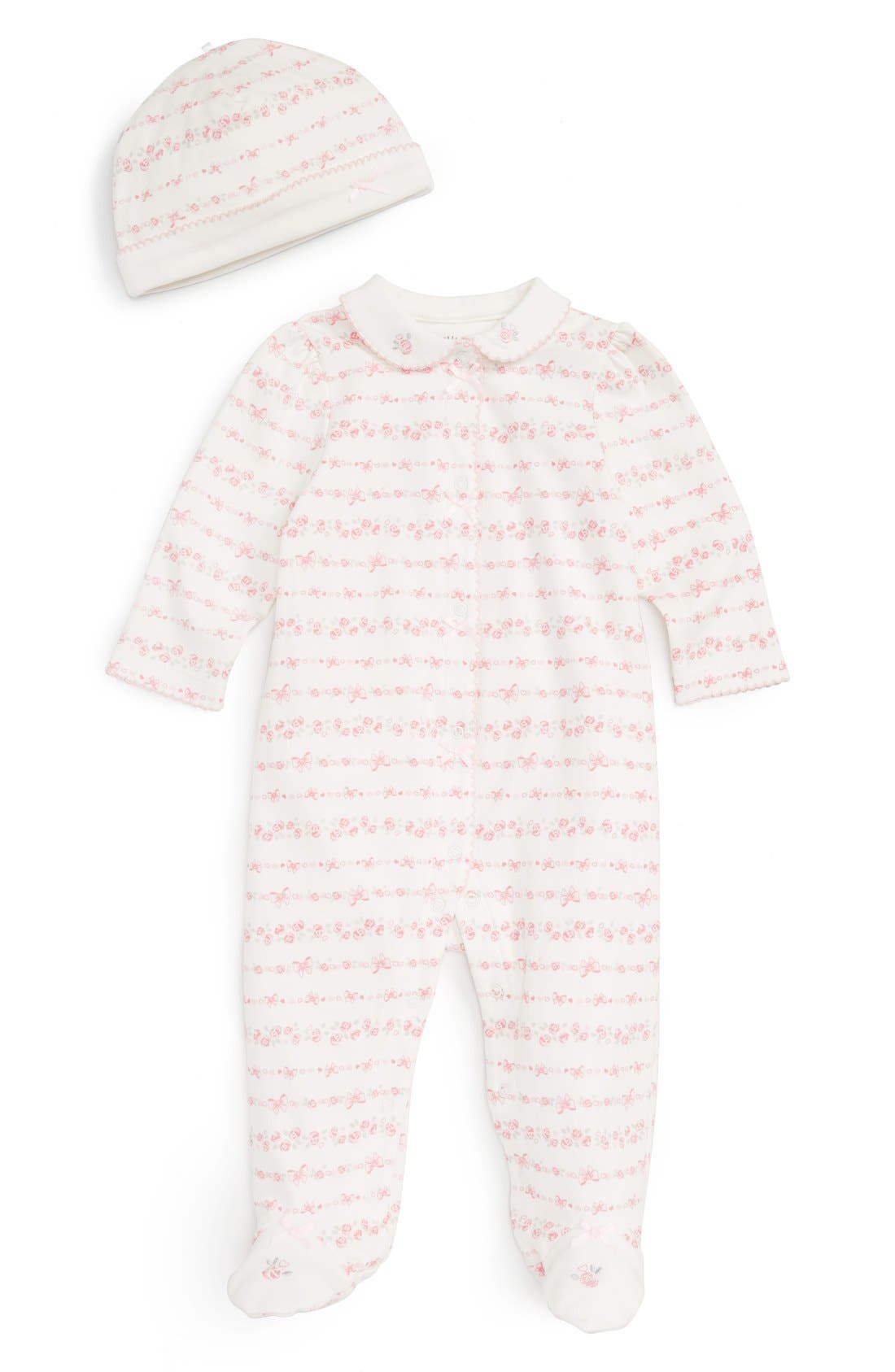 Little Me 'Linear Rose' Footie & Hat Set (Baby Girls)
