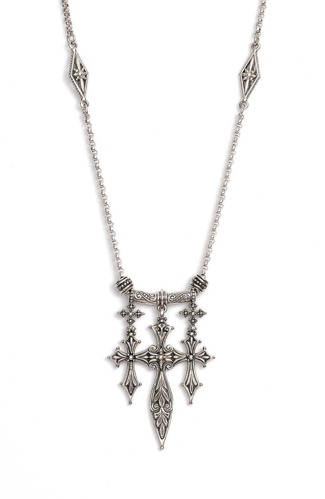 Konstantino 'Penelope' Triple Cross Pendant Necklace