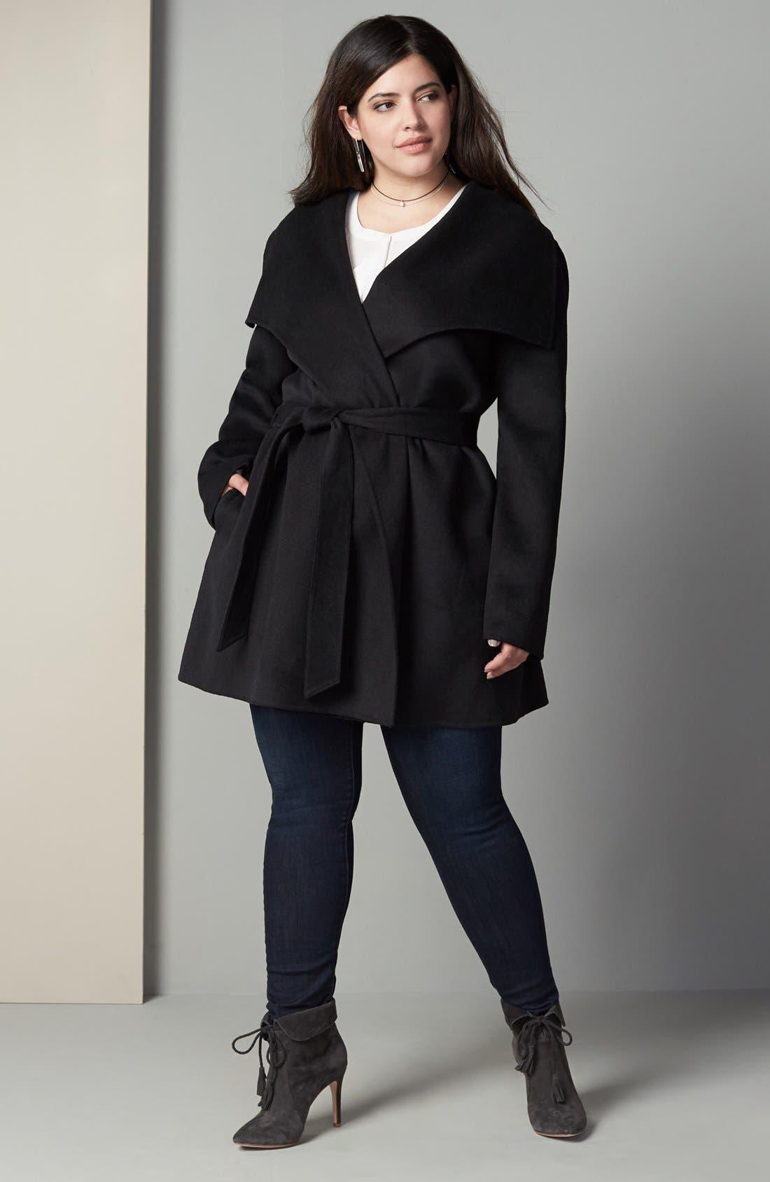 Alternate Image 2  - Tahari 'Ella' Wrap Coat (Plus Size)