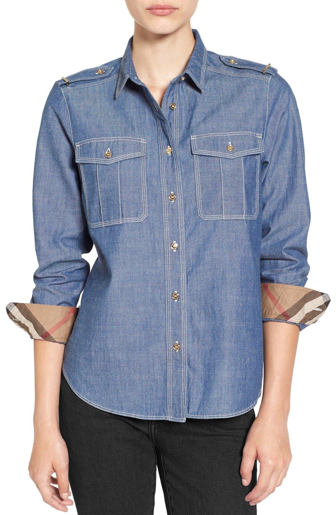 Alternate Image 1 Selected - Burberry Check Cuff Denim Shirt